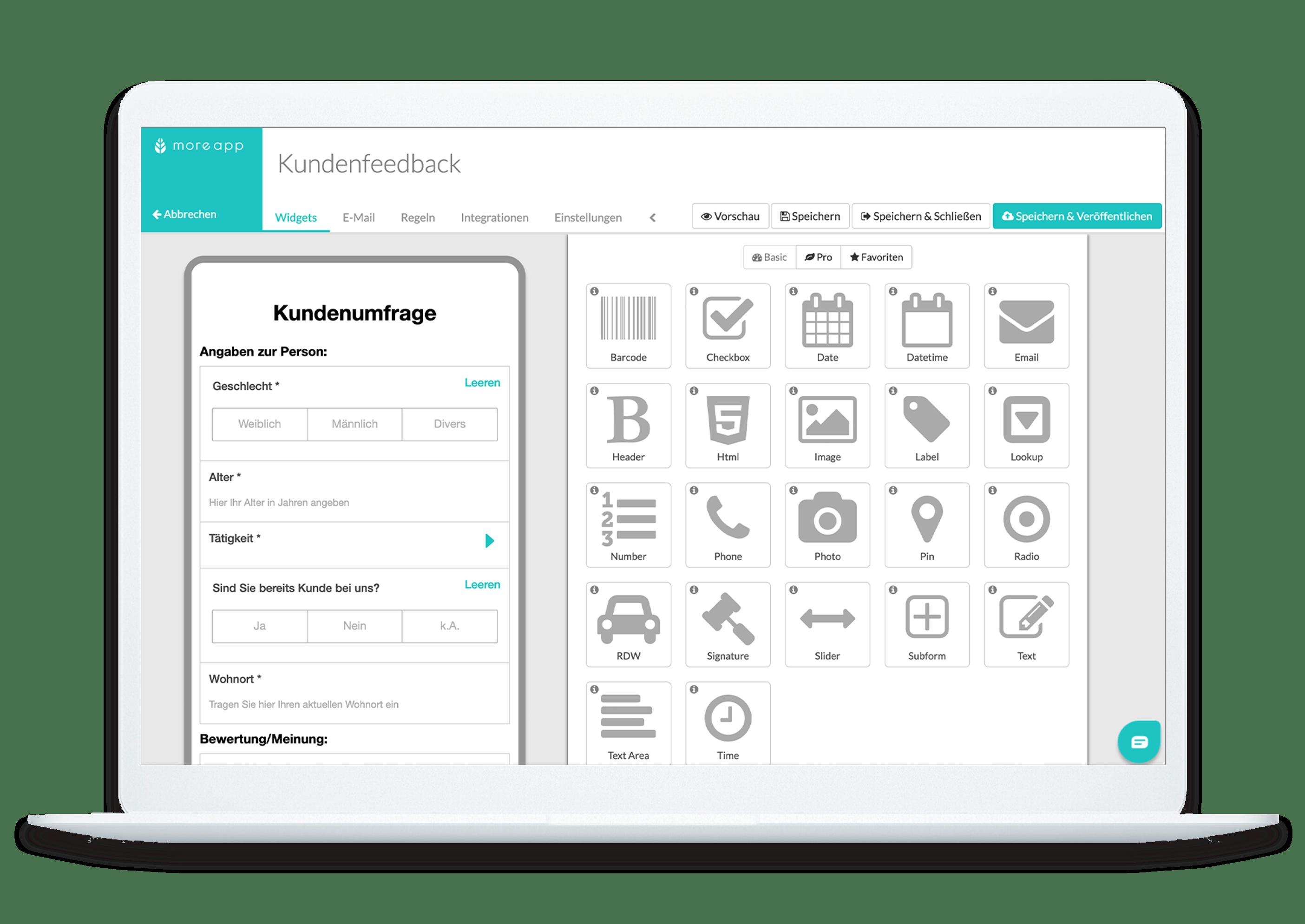 MoreApp Plattform Kundenfeedback-Formular