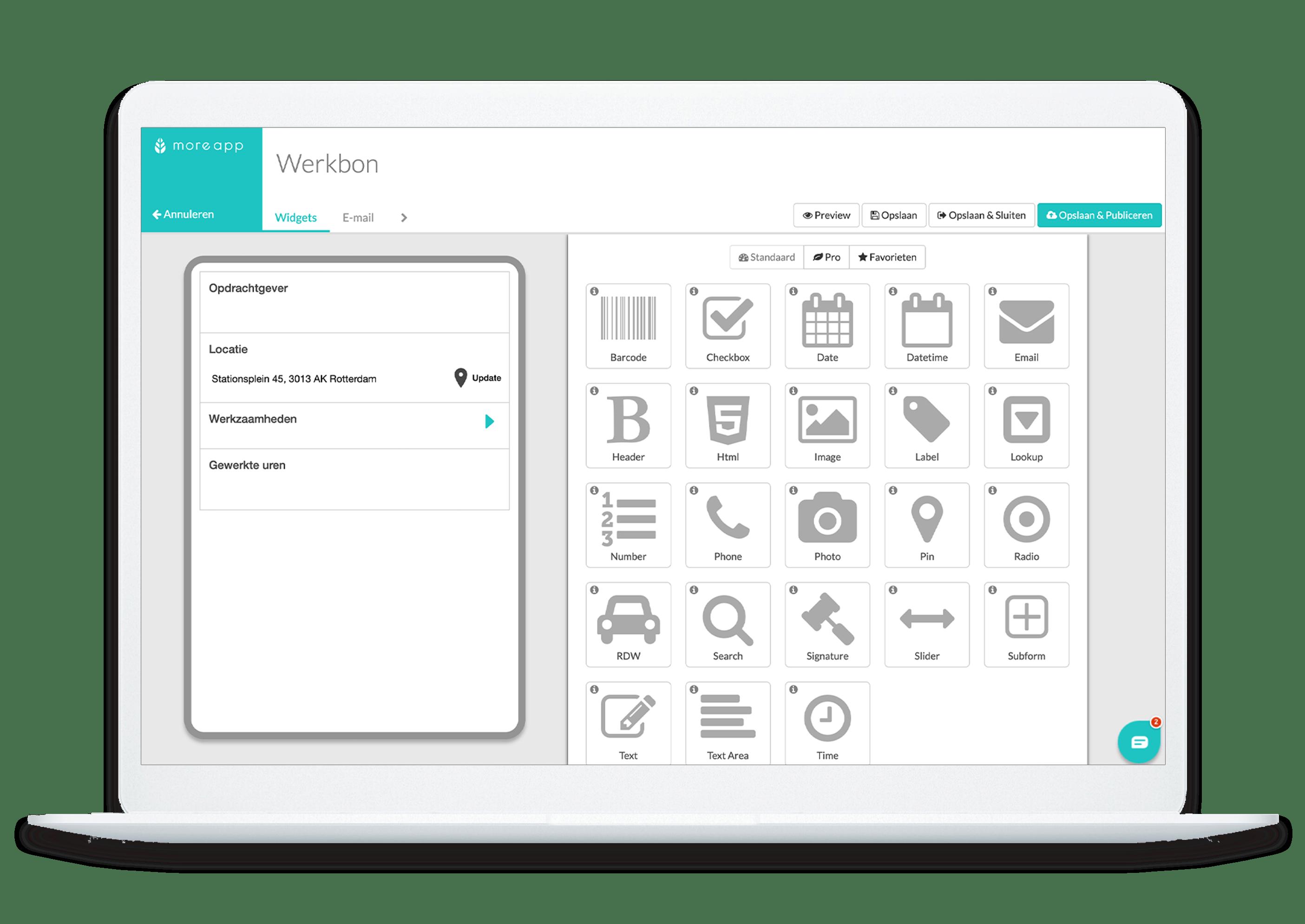 MoreApp Platform Werkbon app