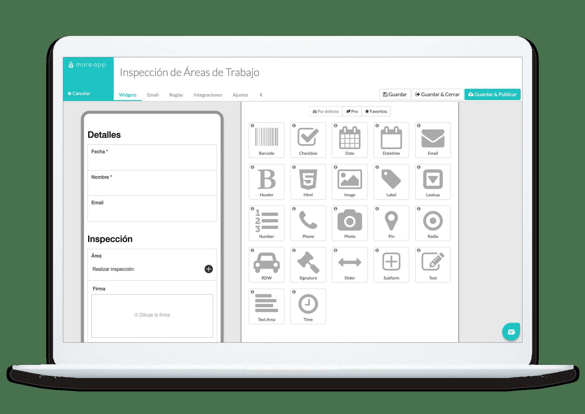 Plataforma MoreApp Formulario Inspección