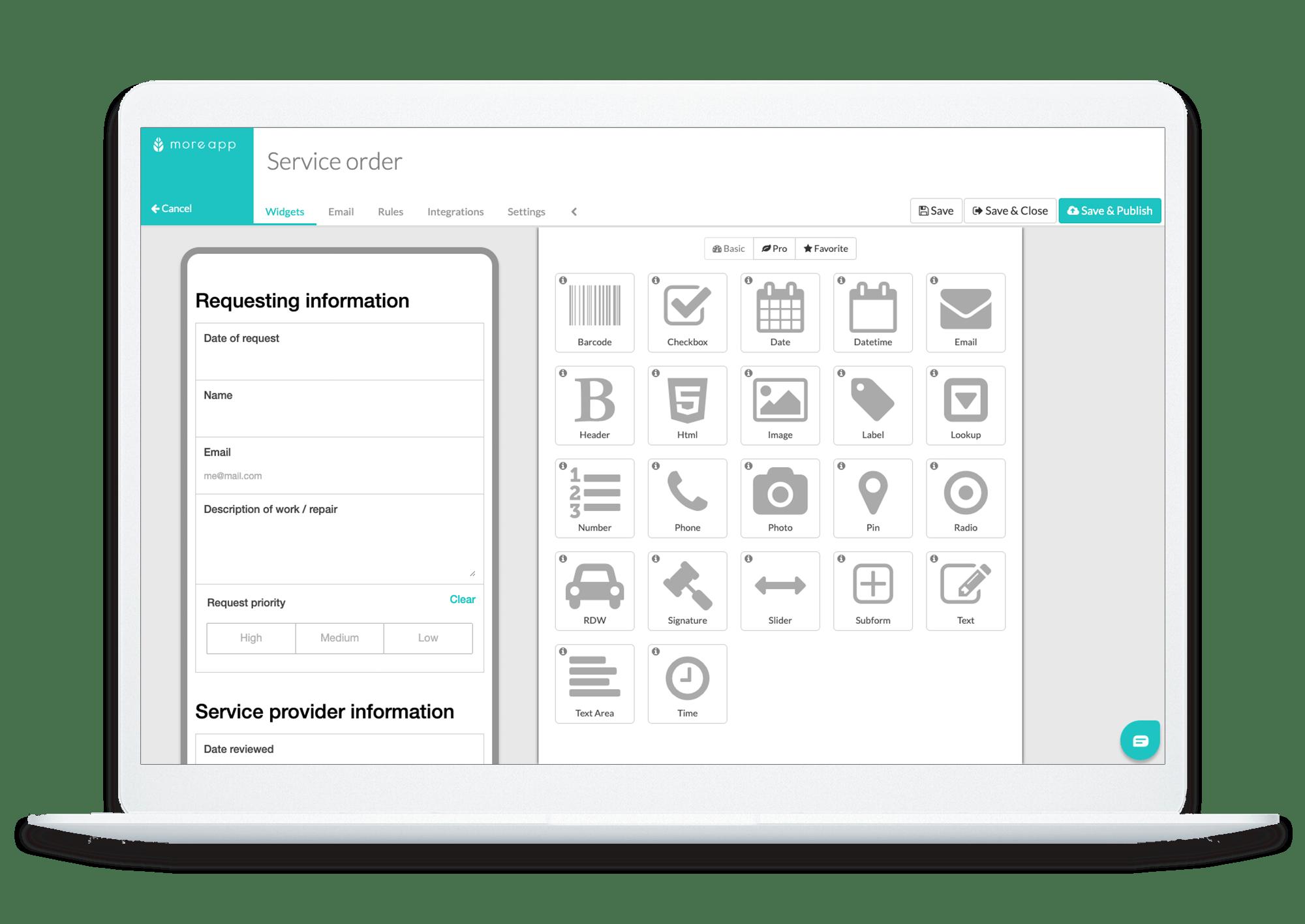MoreApp Platform Service Order