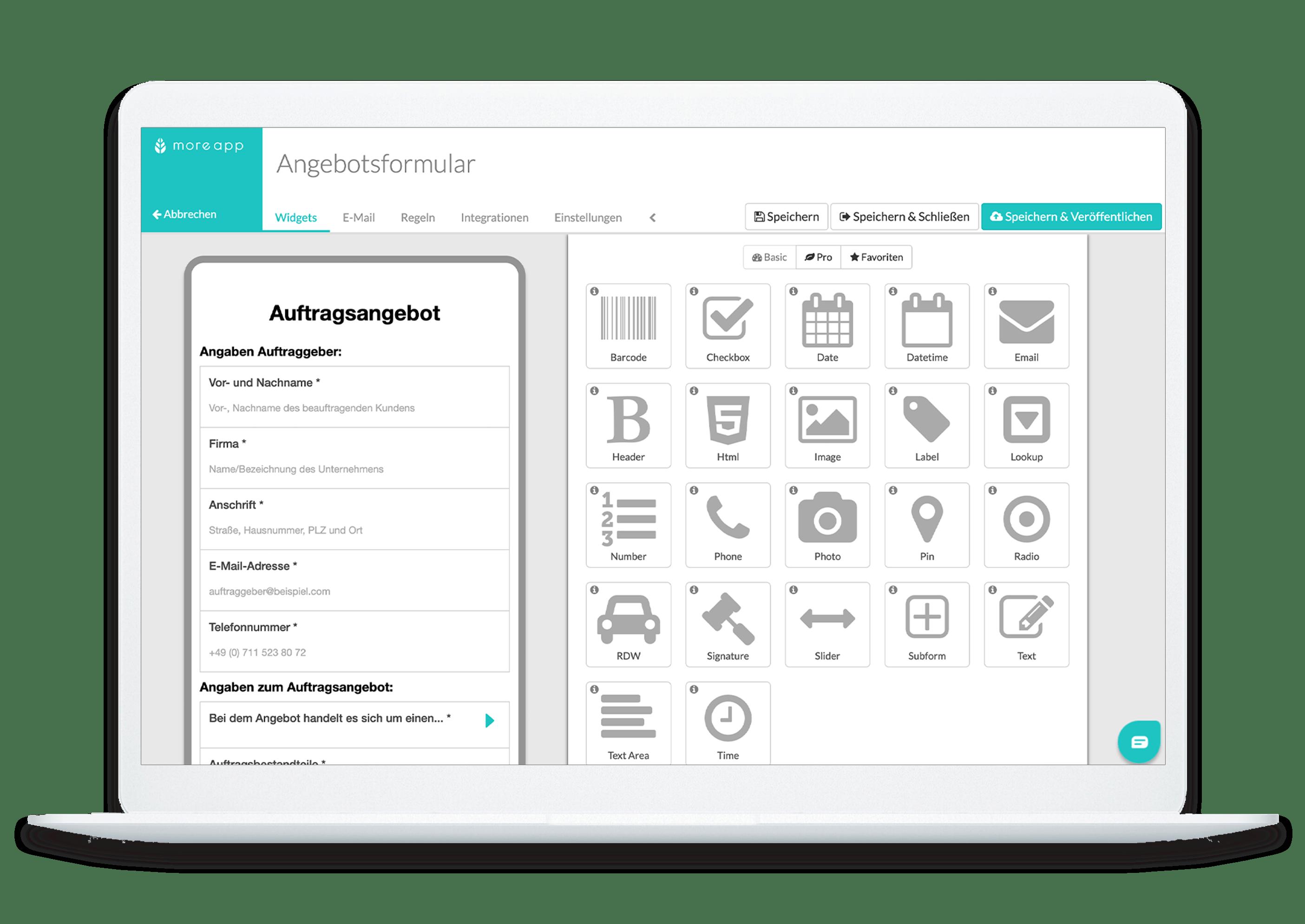 MoreApp-Plattform Angebotsformular