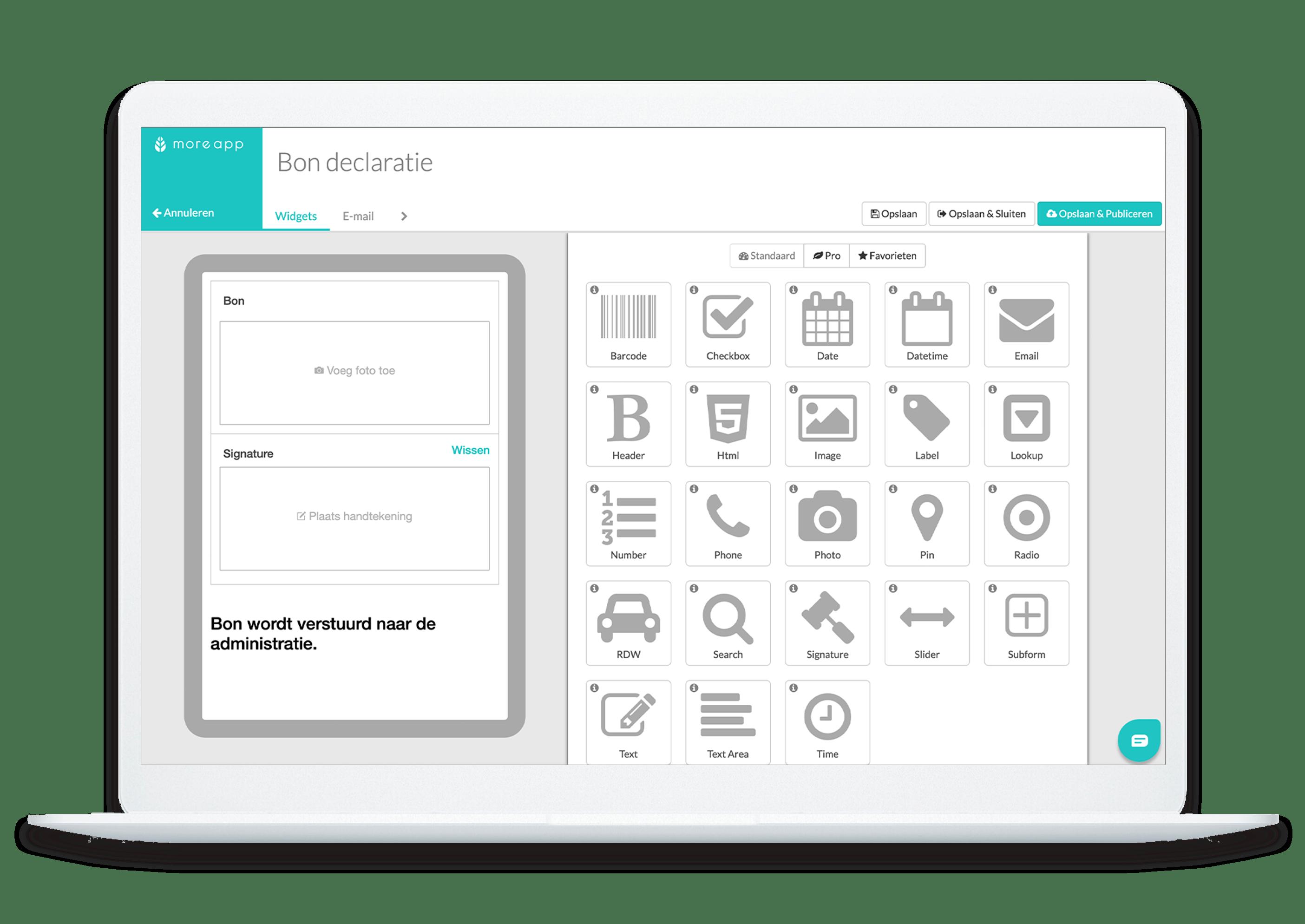 MoreApp Platform declaratie app
