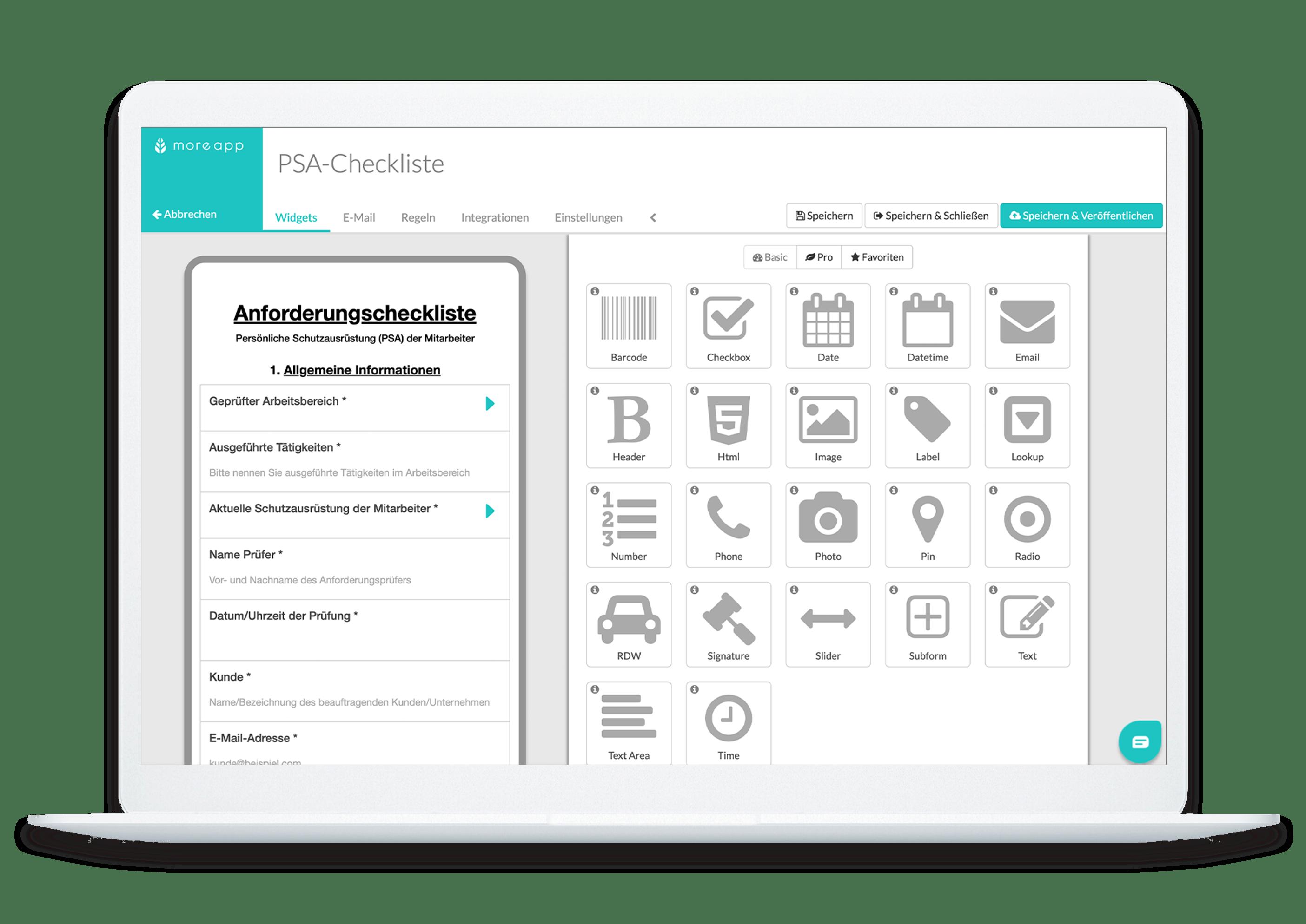 MoreApp-Plattform PSA-Anforderungscheckliste