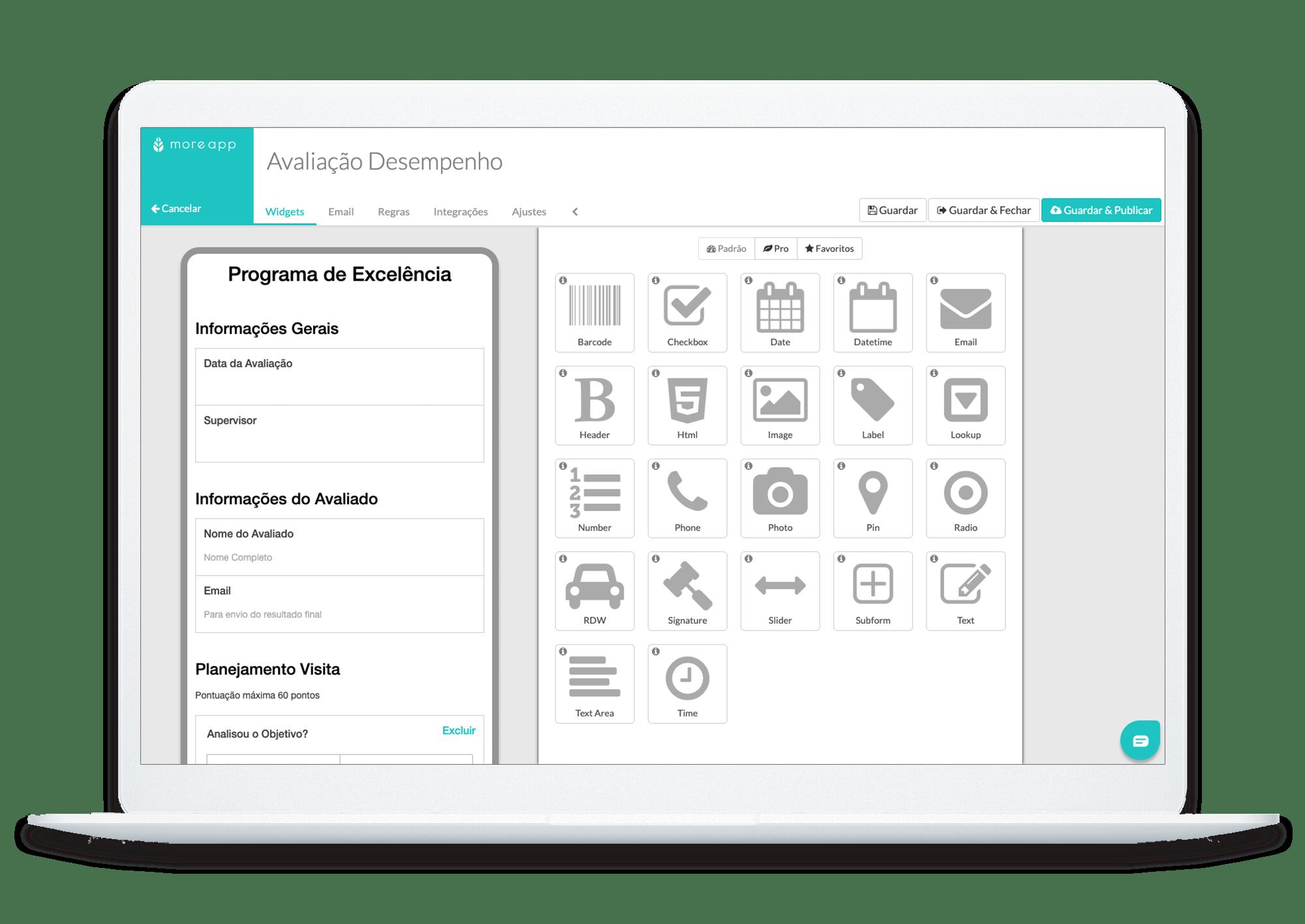 MoreApp Construtor de Formulários Avaliação de Desempenho App