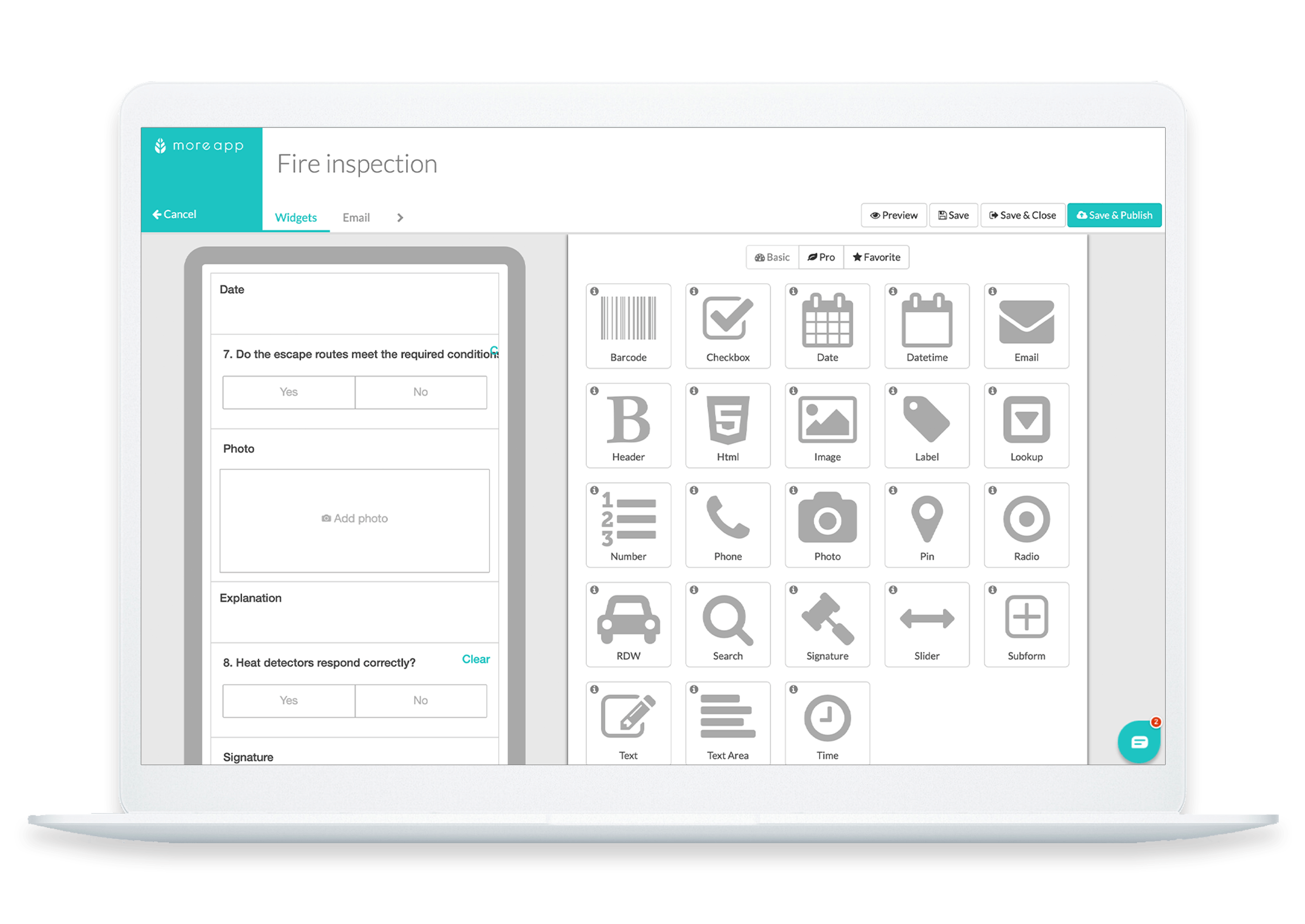 MoreApp Form builder Audit Form