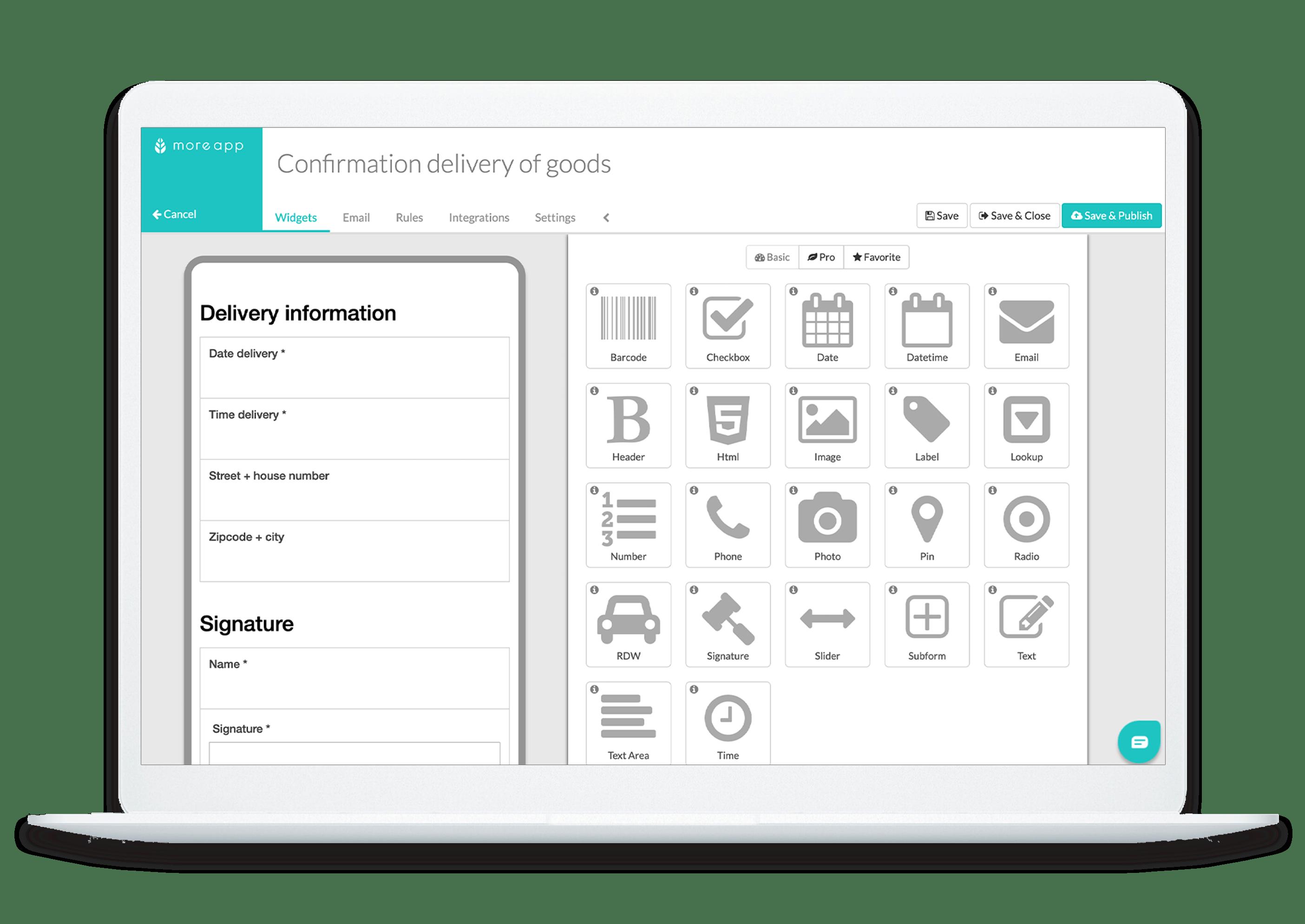 MoreApp Platform Confirmation of Deliver Goods App
