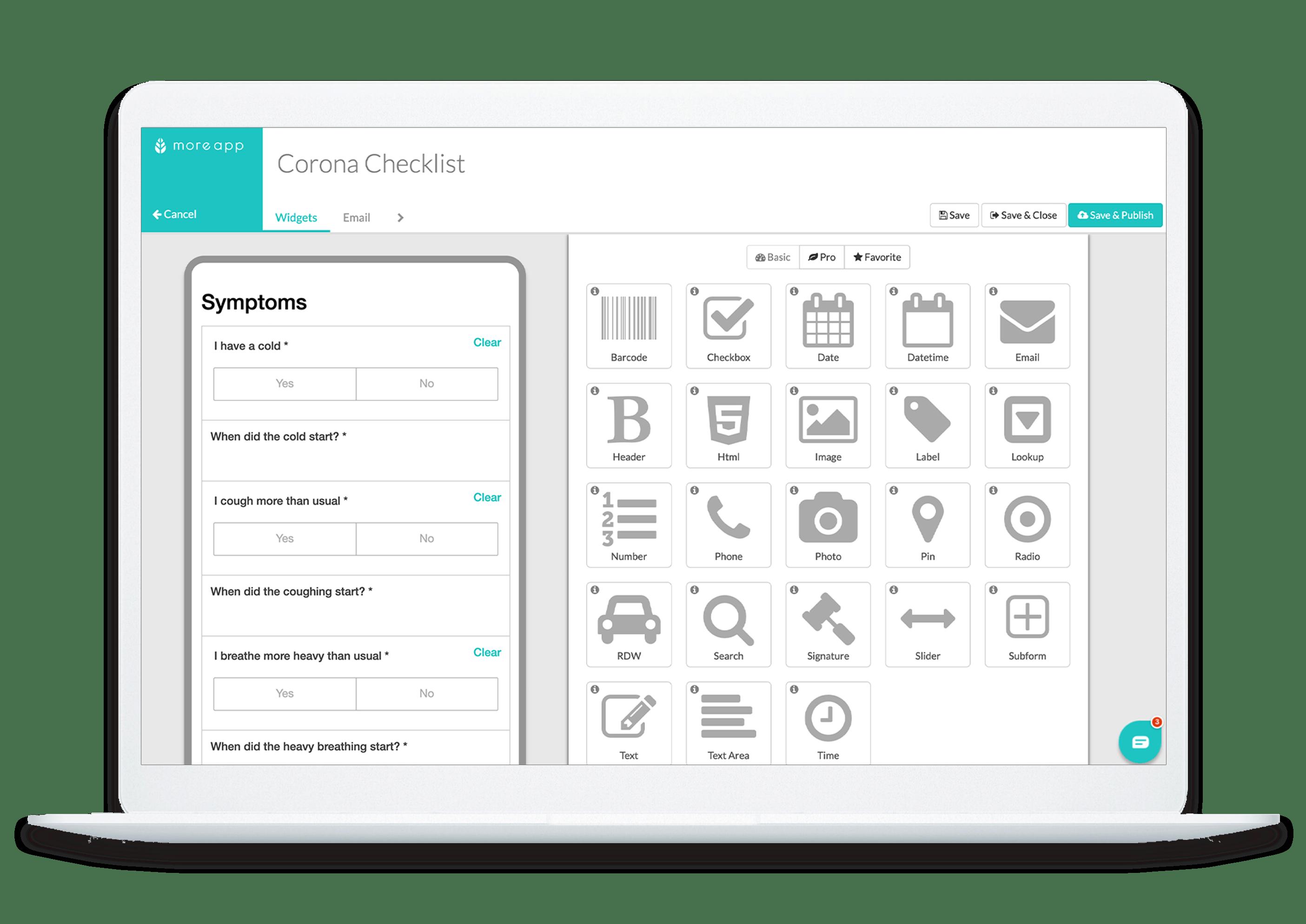 MoreApp Form Builder Corona Checklist