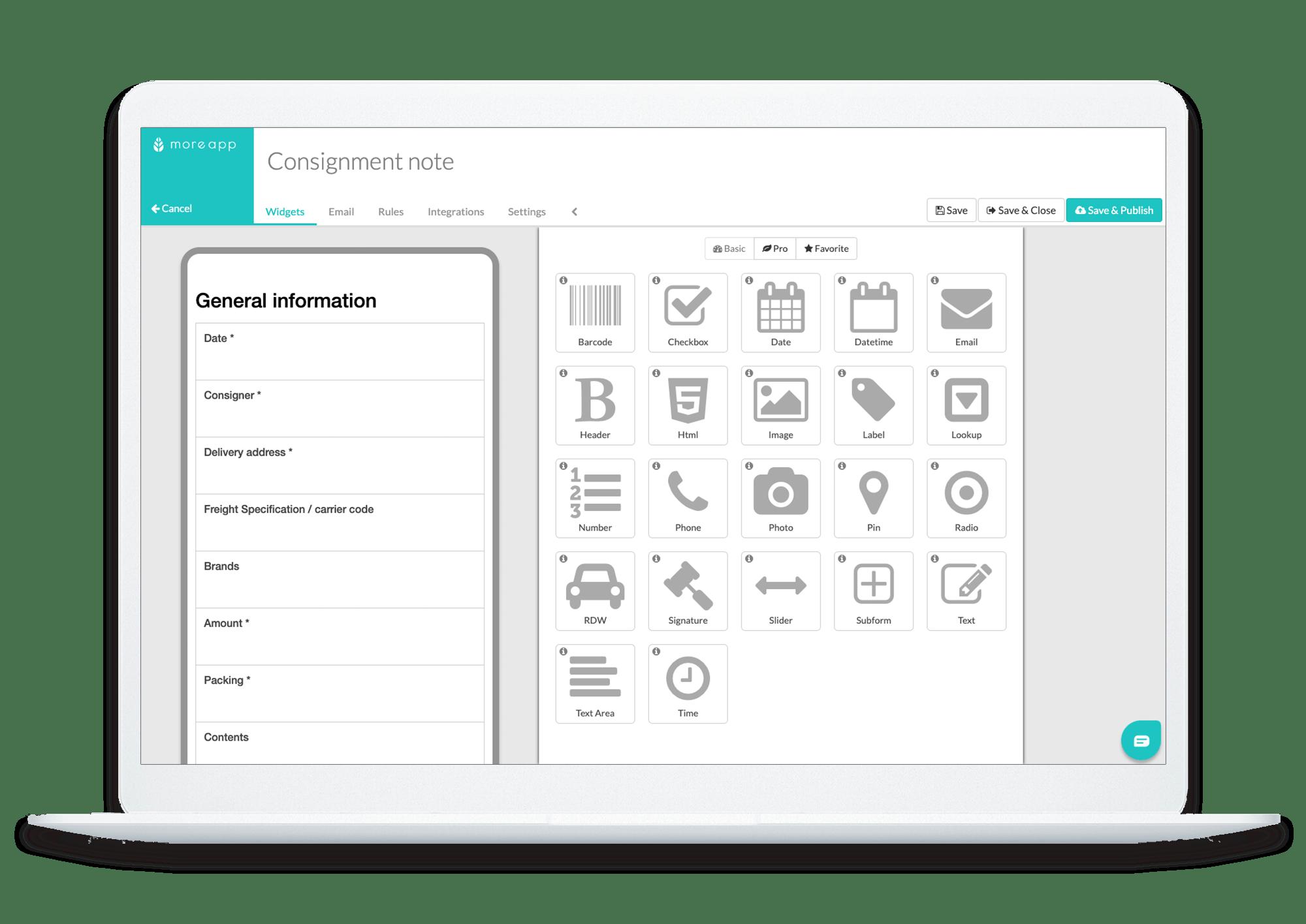 MoreApp Platform Consignment Note