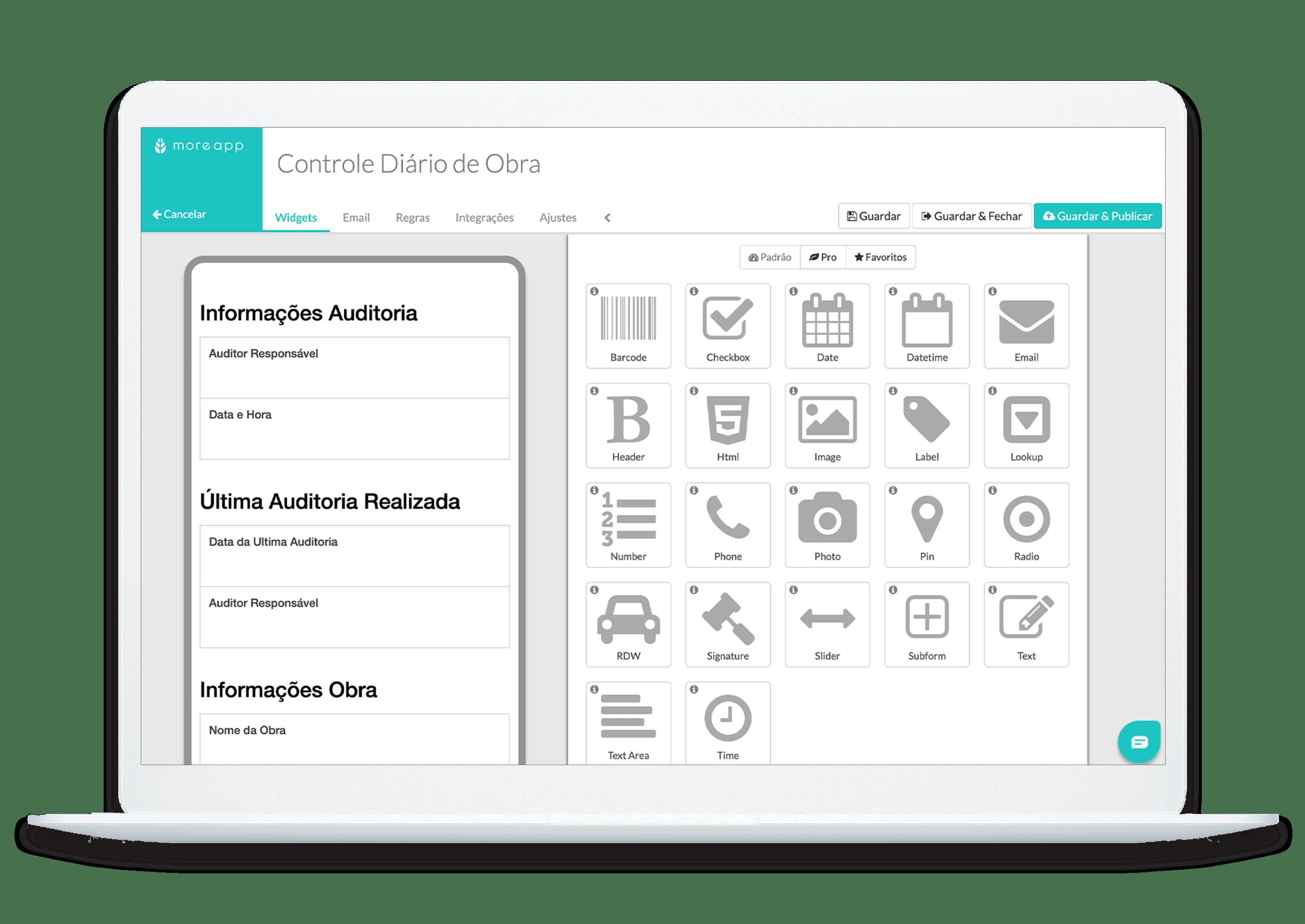 MoreApp Formulários App de Controlo Diário de Obra