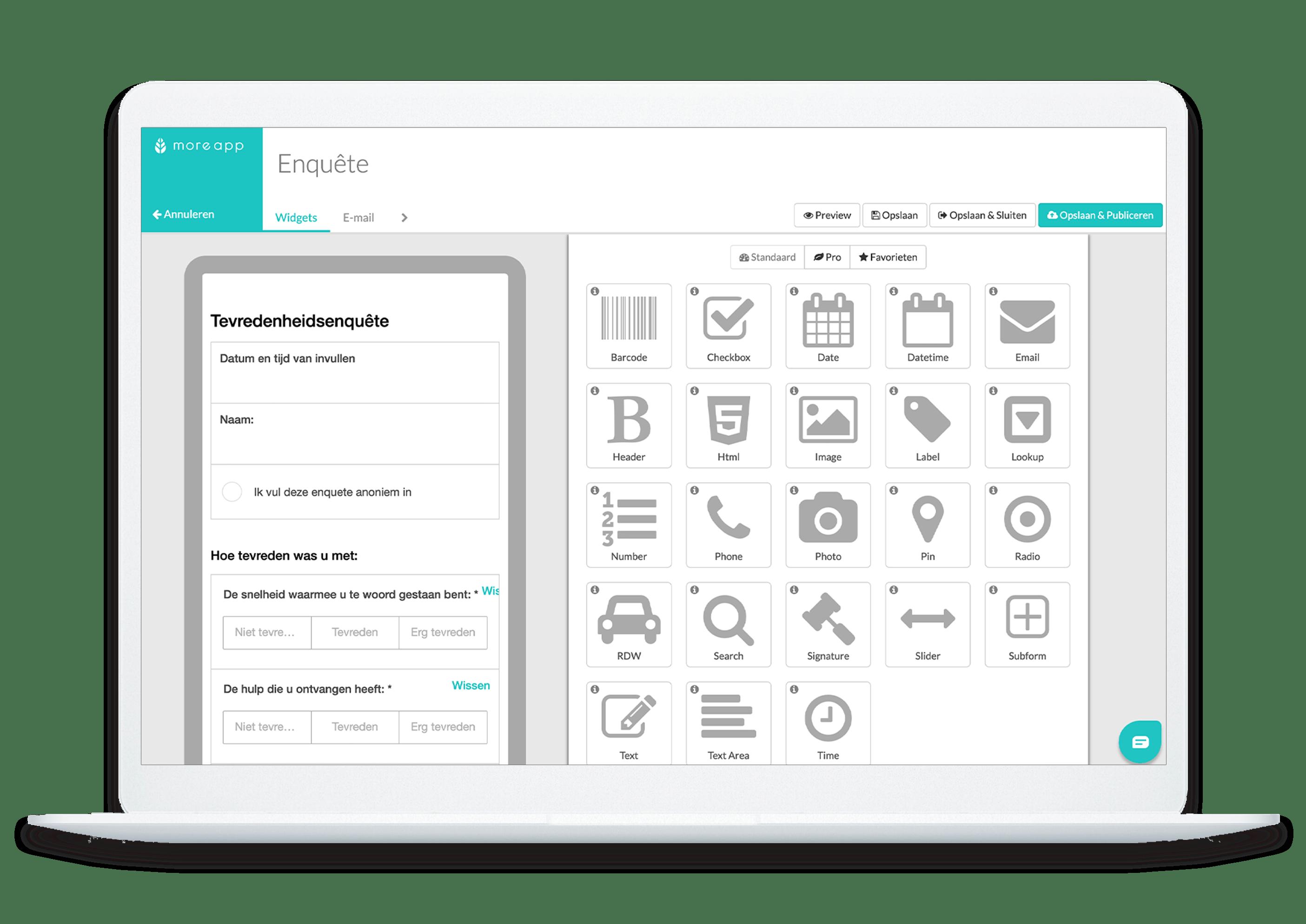 MoreApp Form builder Enquete formulier