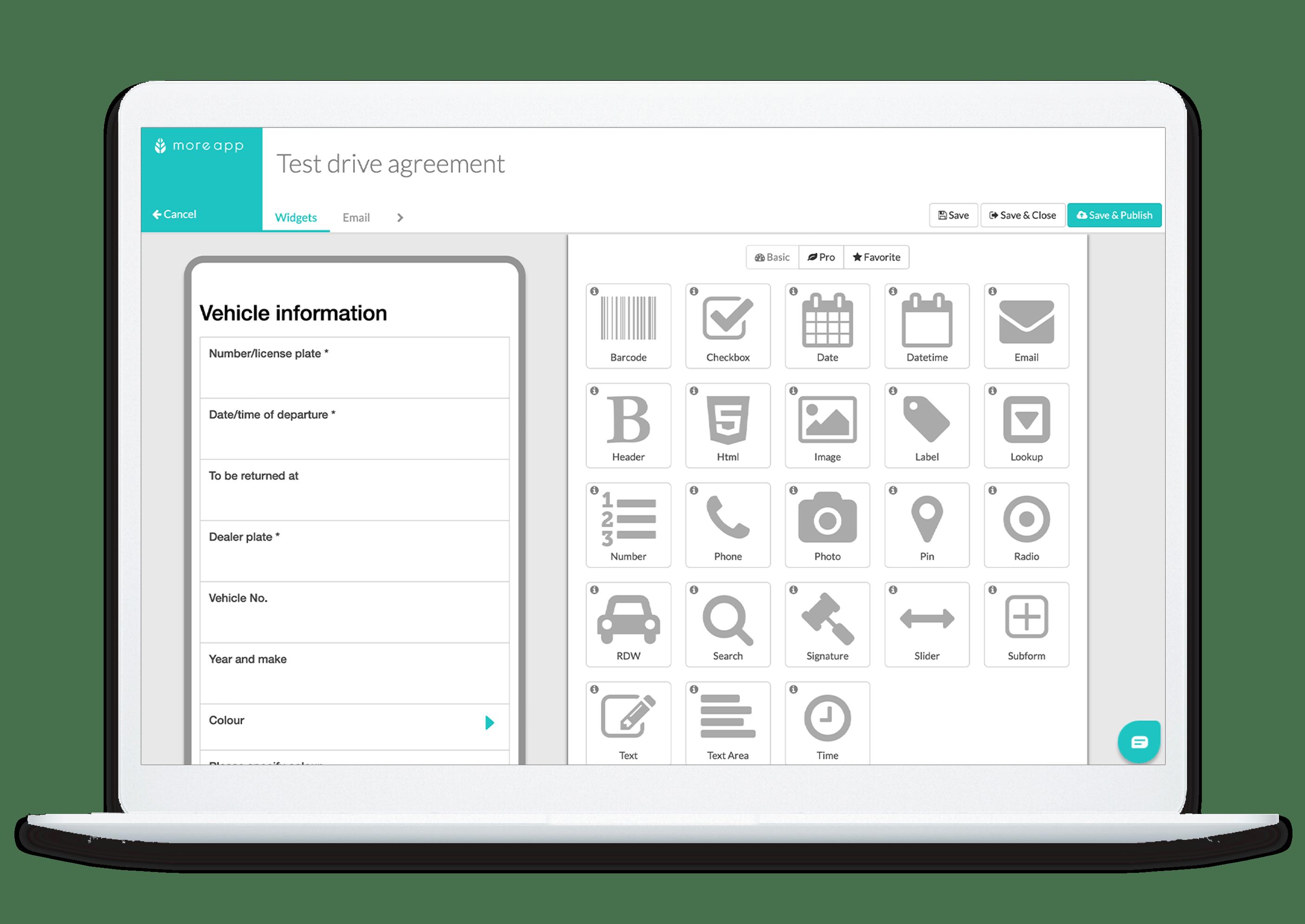 MoreApp form builder test drive agreement