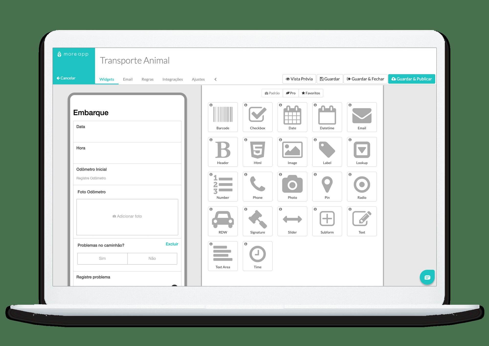 MoreApp Construtor de Formulários Transporte de Animais App
