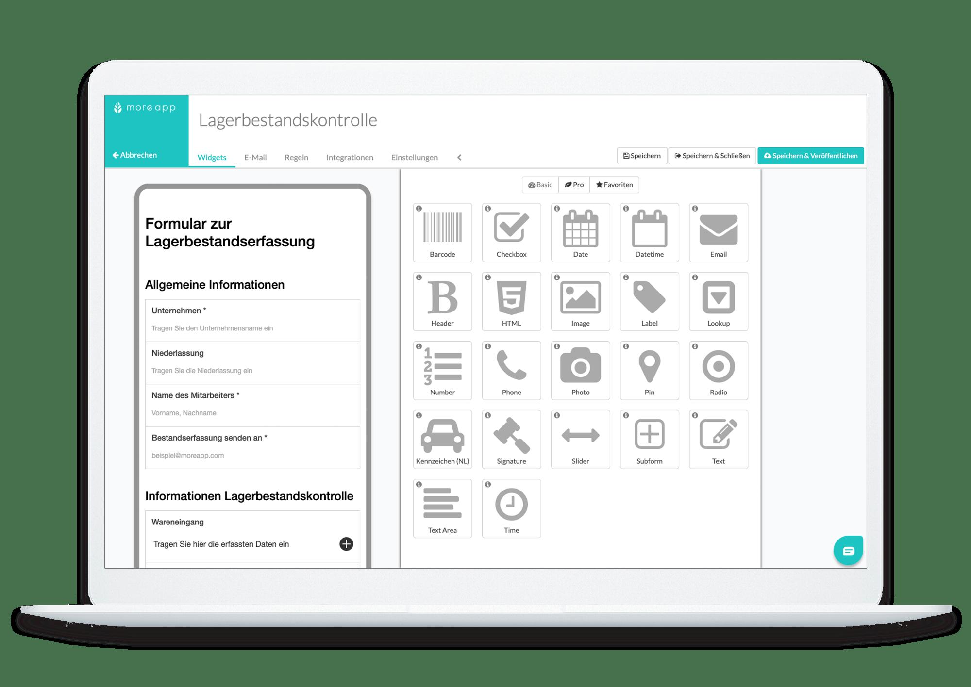 Lagerbestand-Kontroll-App MoreApp Form Builder