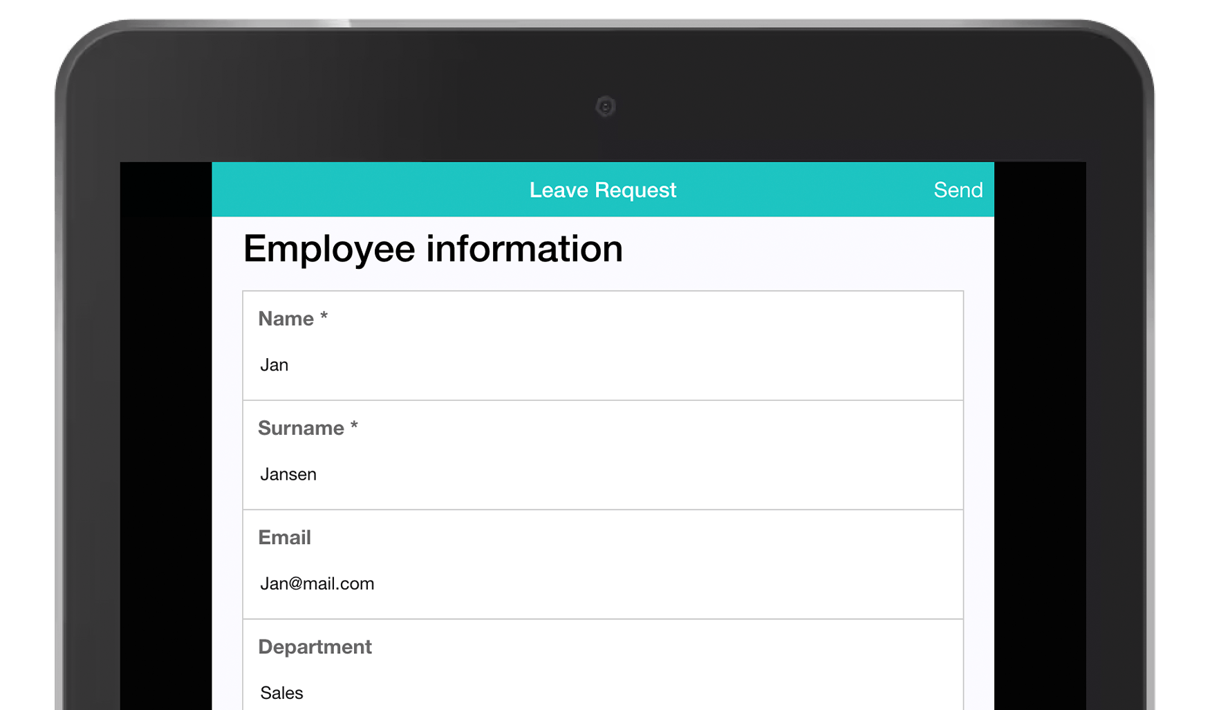 MoreApp Leave Request form