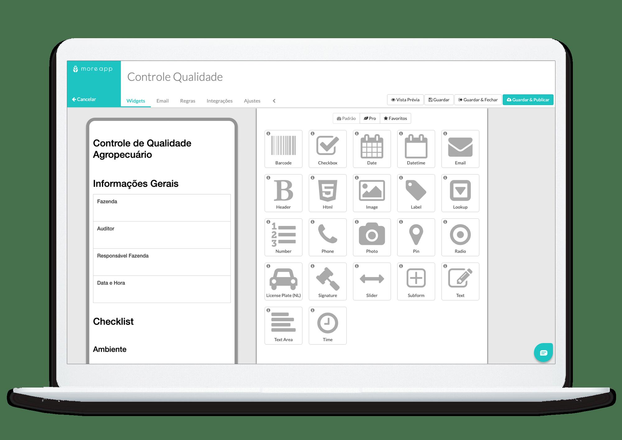 MoreApp Construtor de Formulários Controlo de Qualidade App