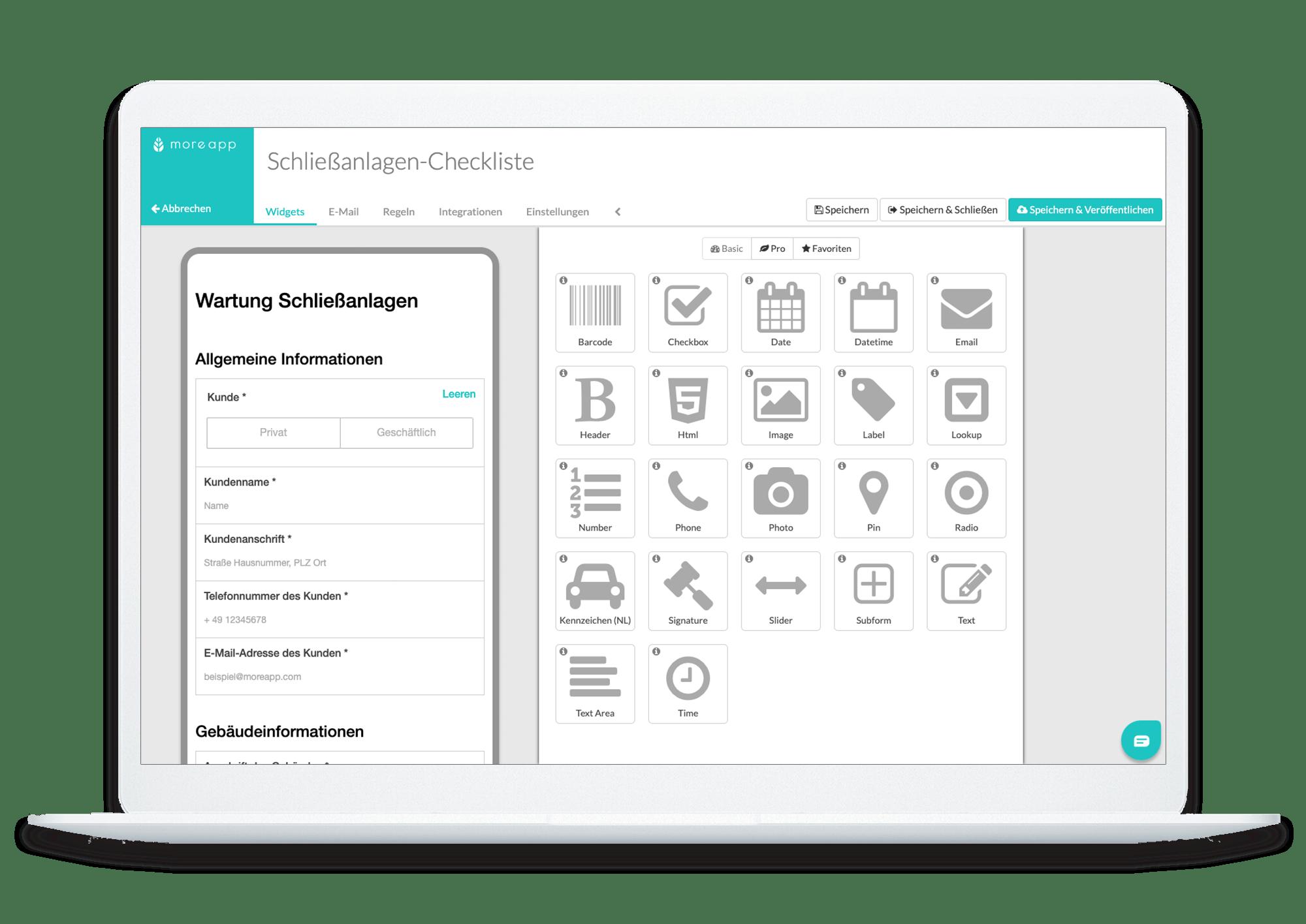 MoreApp Form Builder DE_Schließanlagen_Checkliste