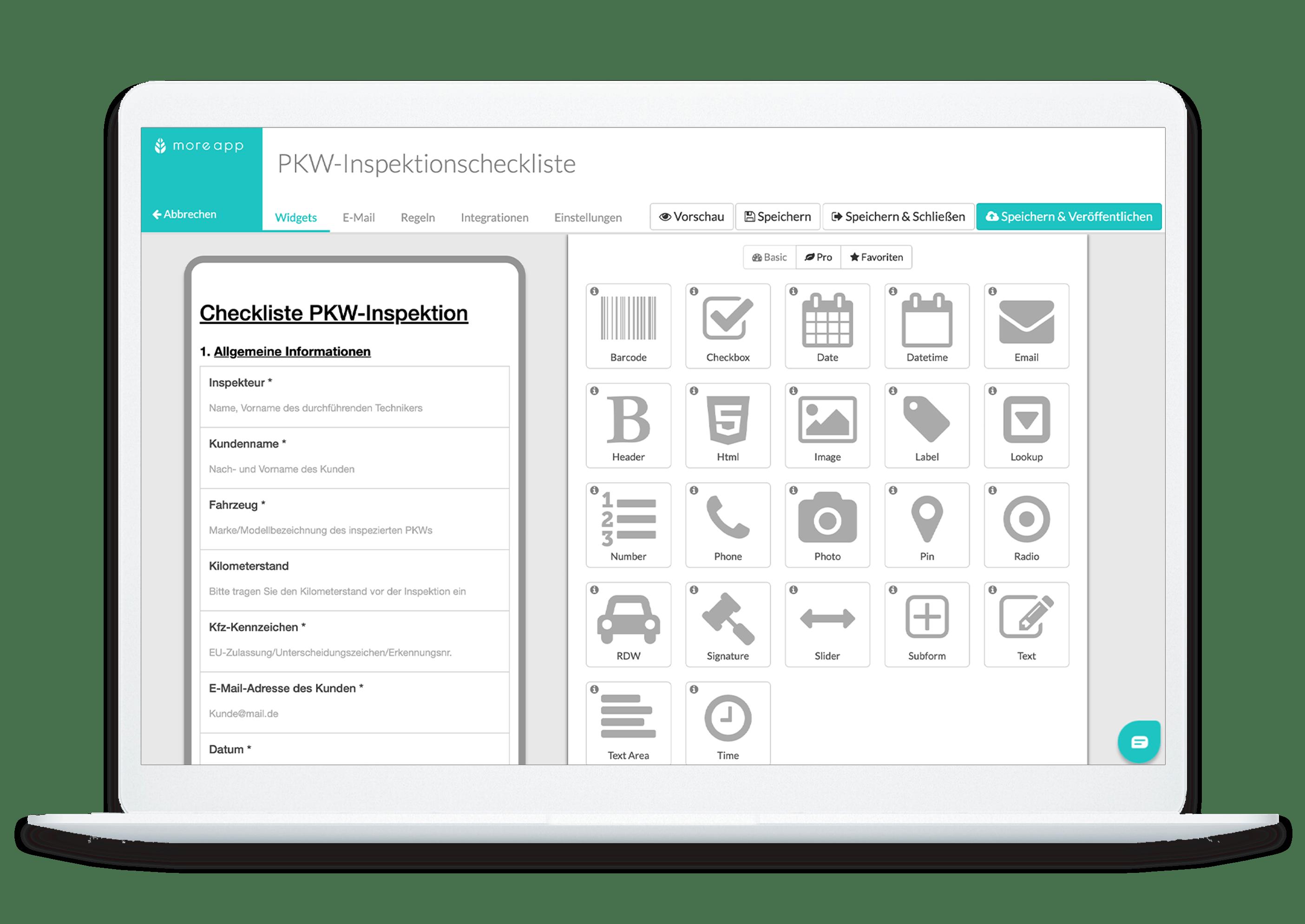 MoreApp Plattform Pkw-Inspektionschecklisten-App