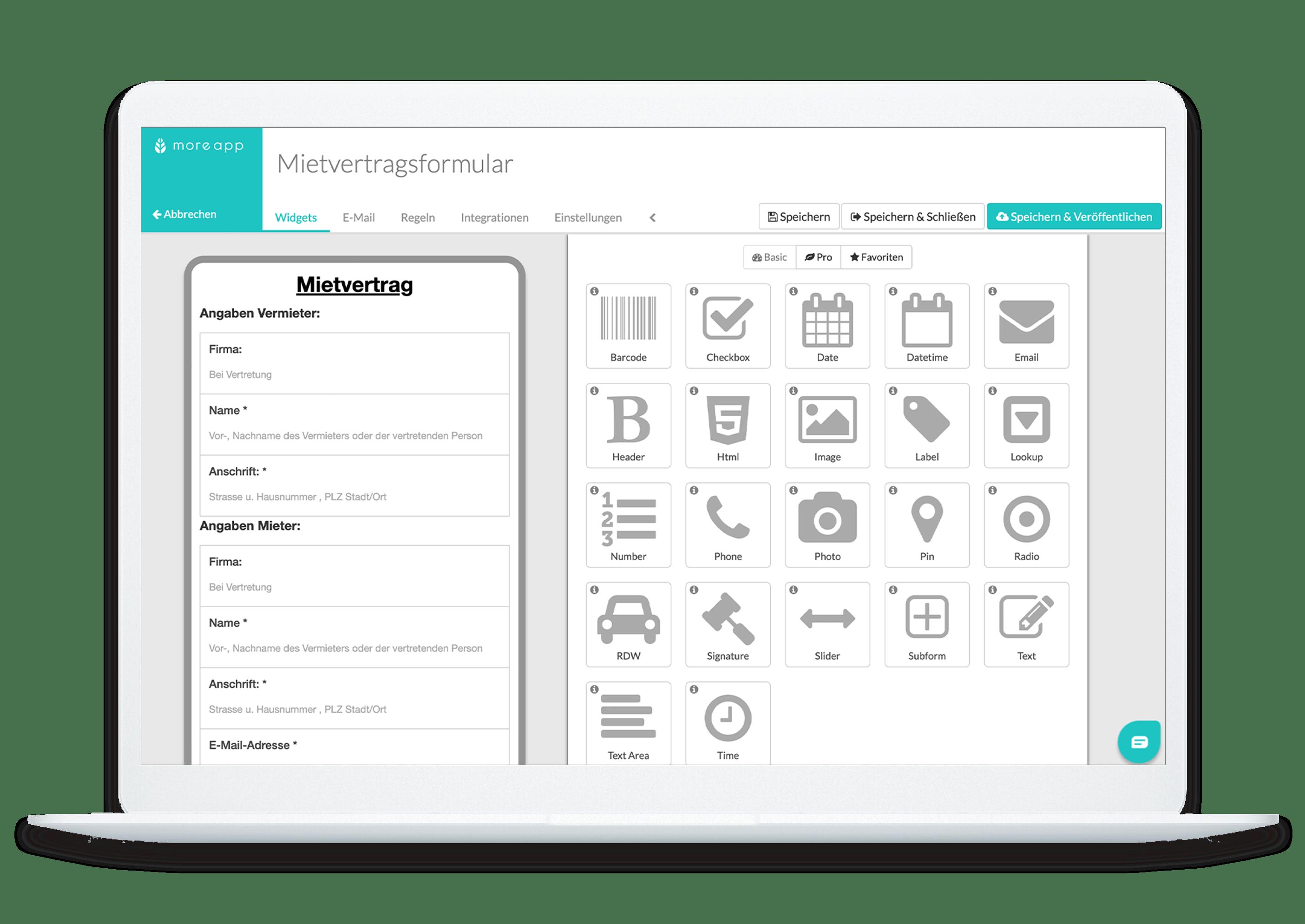 MoreApp Plattform Mietvertrag-App