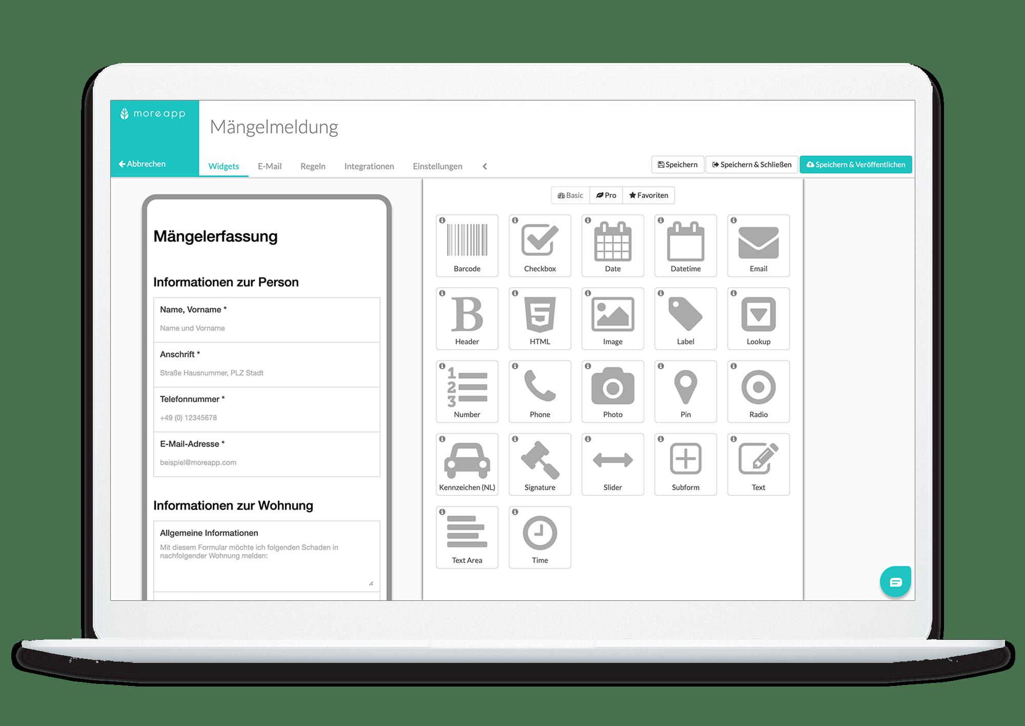 MoreApp Form Builder DE_Mängelmeldung