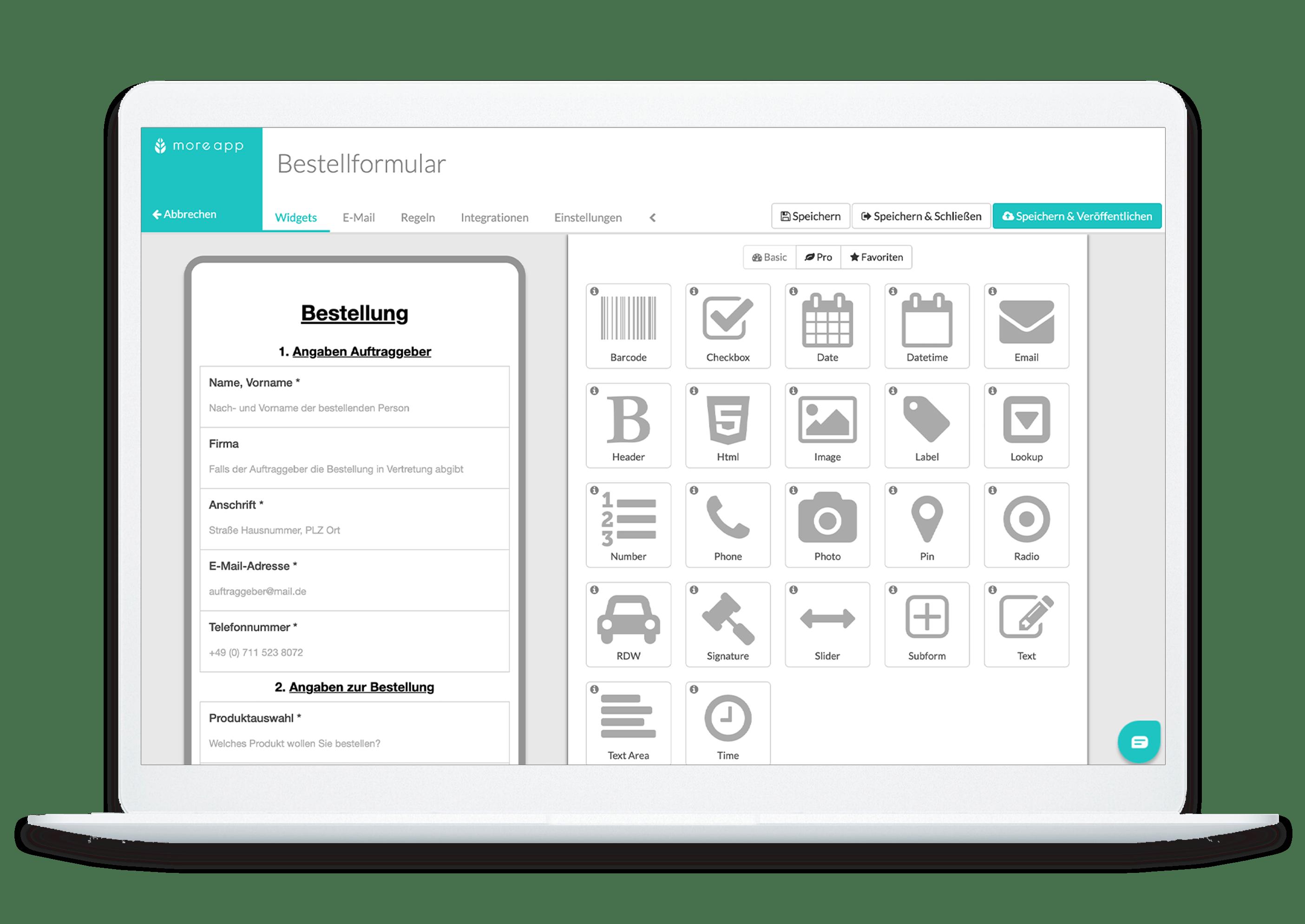 MoreApp Plattform Bestellformular