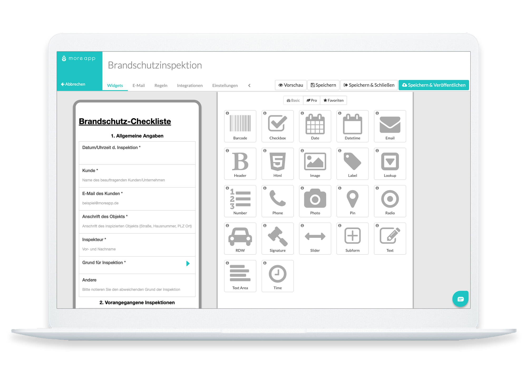 MoreApp Plattform Brandschutz-Checkliste
