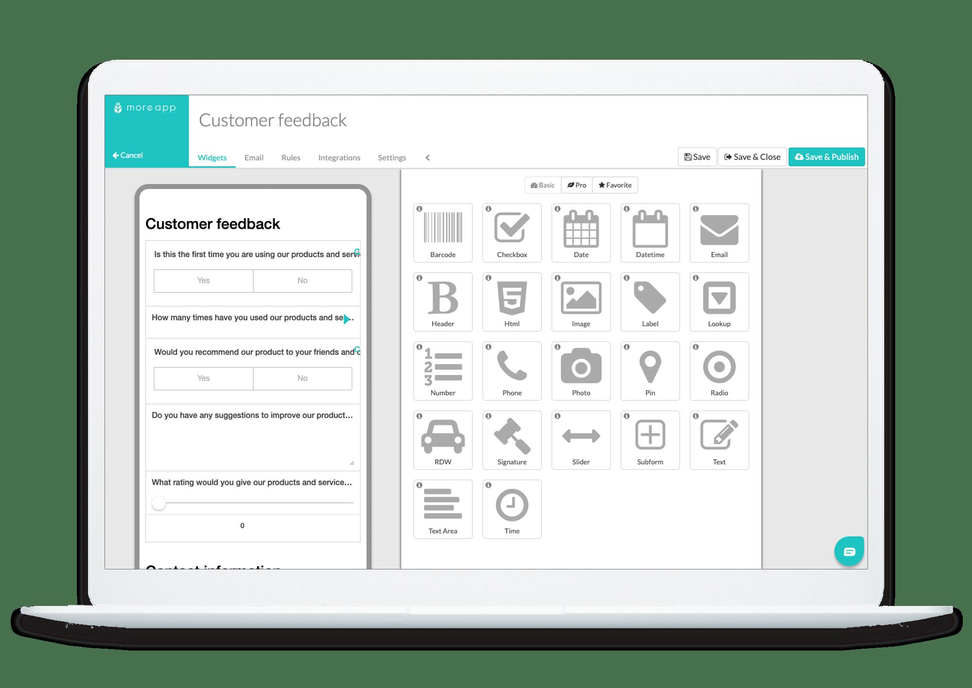 MoreApp Platform Customer Feedback