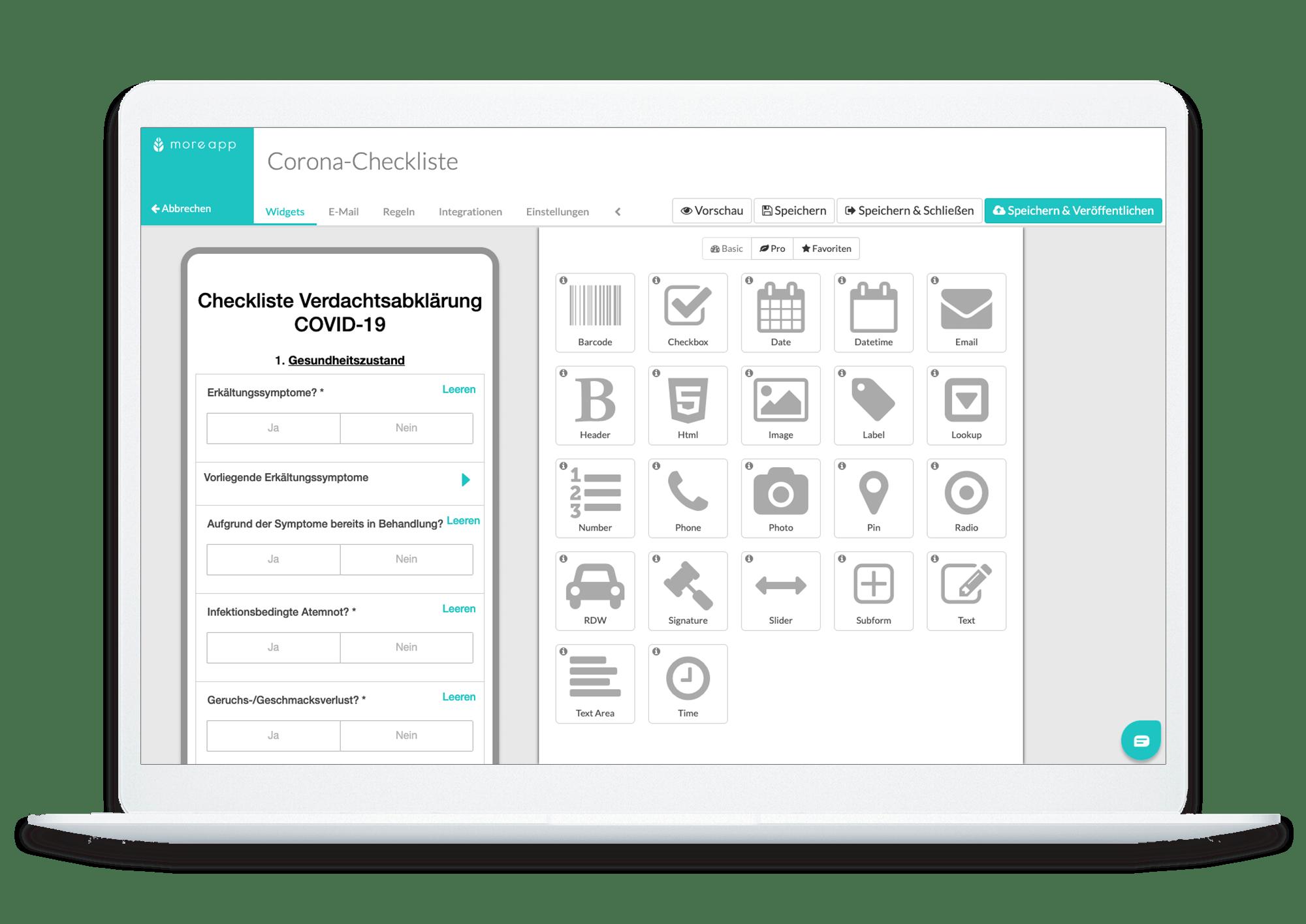 MoreApp Plattform Corona-Checkliste