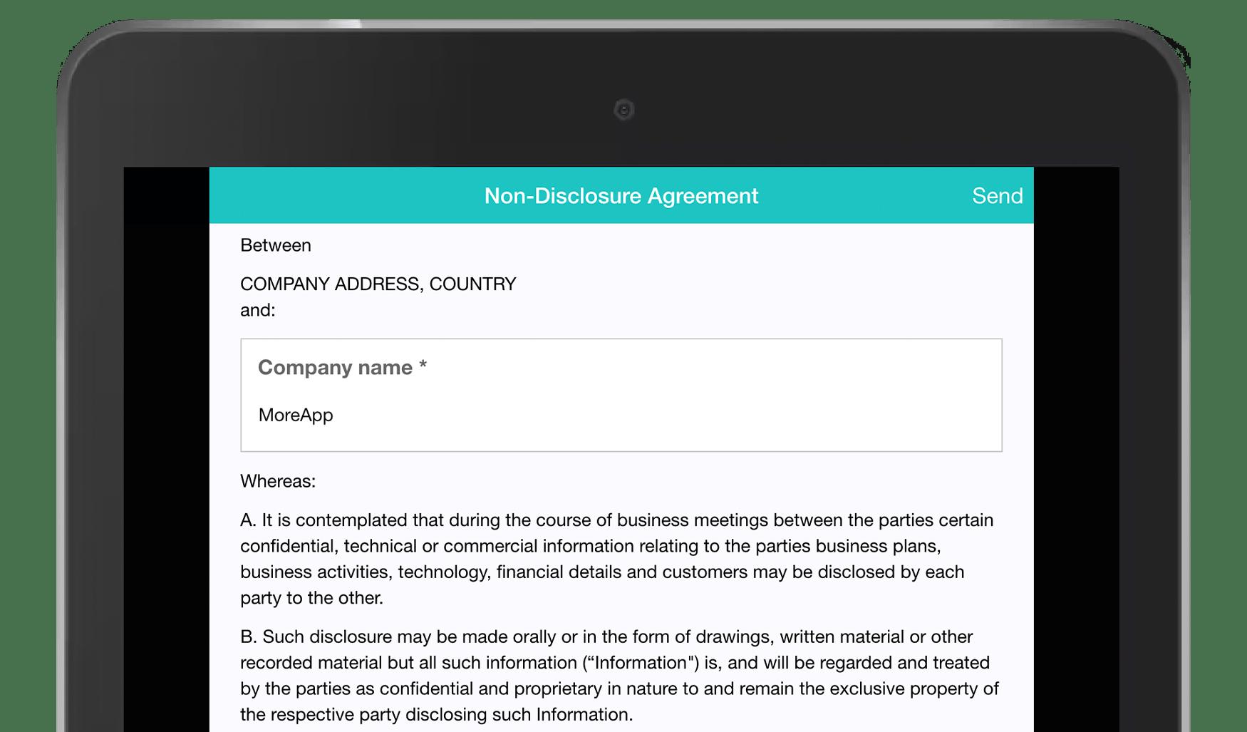 MoreApp Non-Disclosure Agreement App