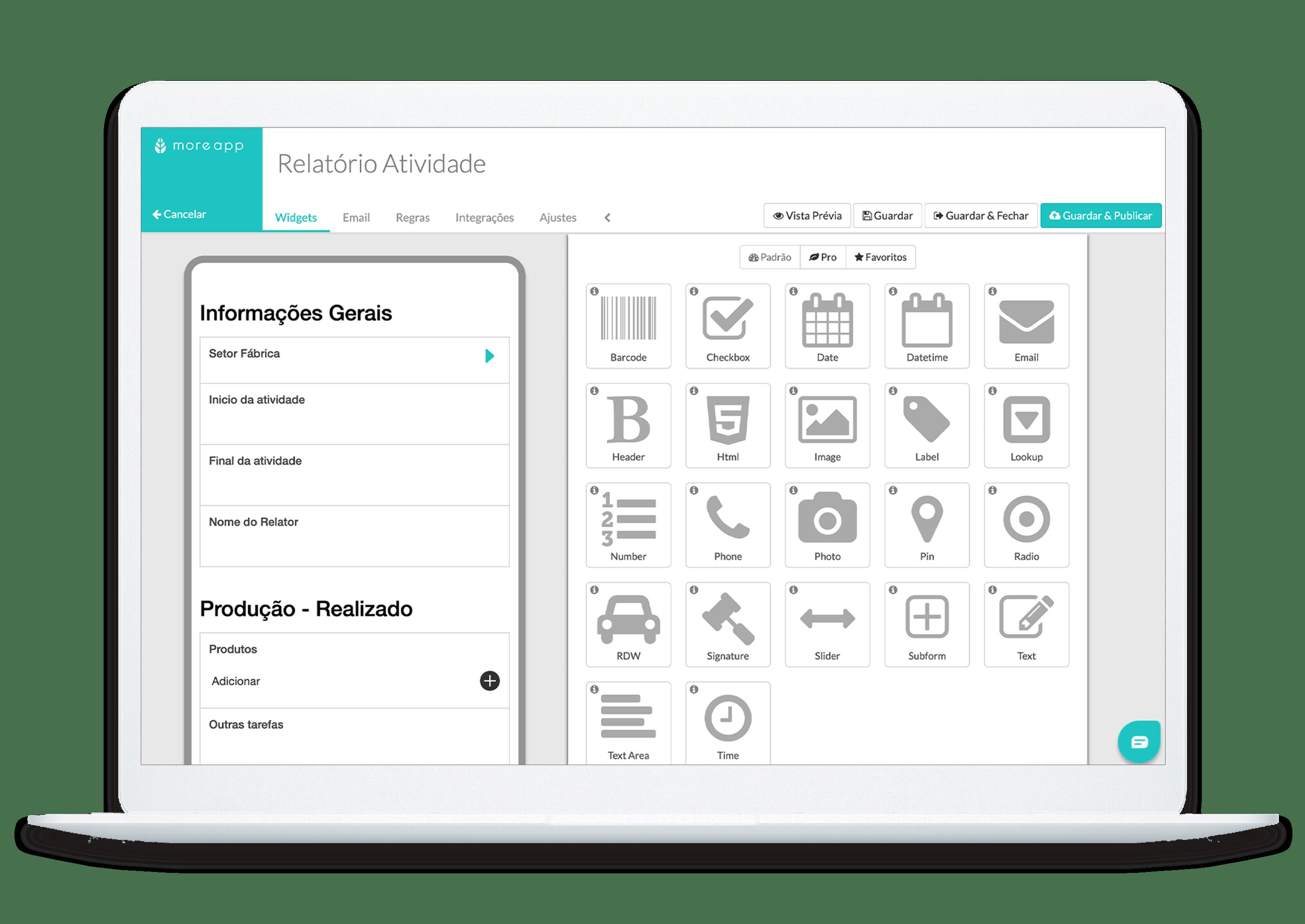 MoreApp Formulários Aplicação de Relatório de Atividade