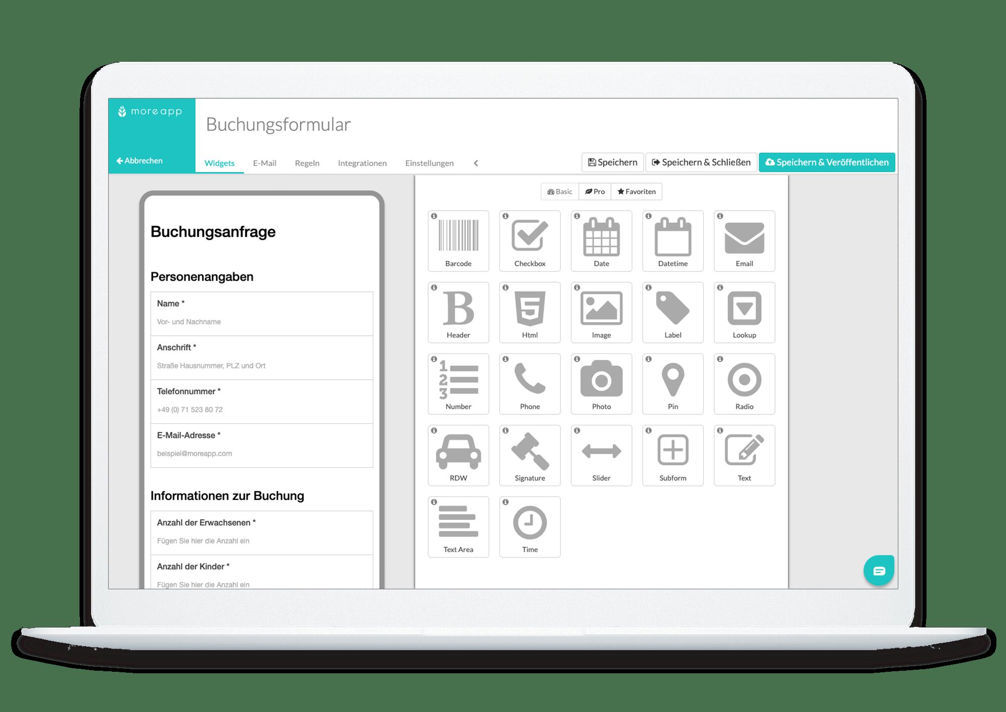 MoreApp-Plattform Buchungsformular