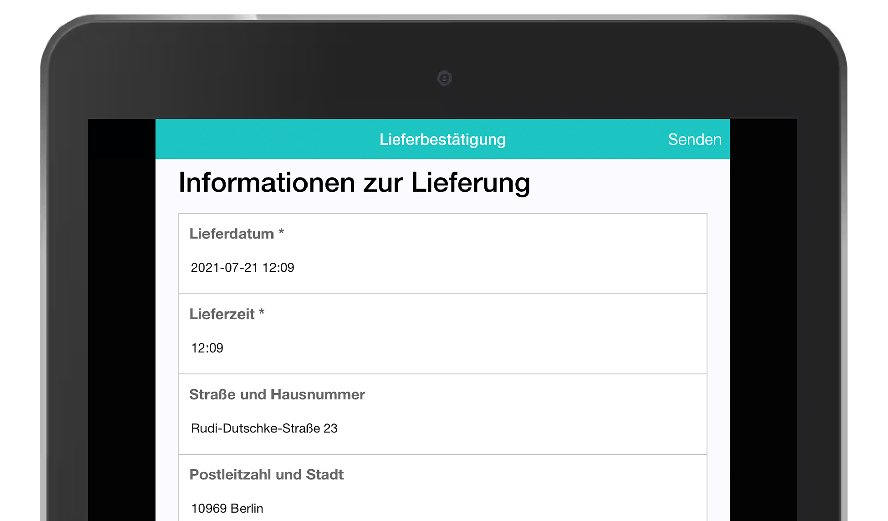 Delivery information in webclient (for iPad)
