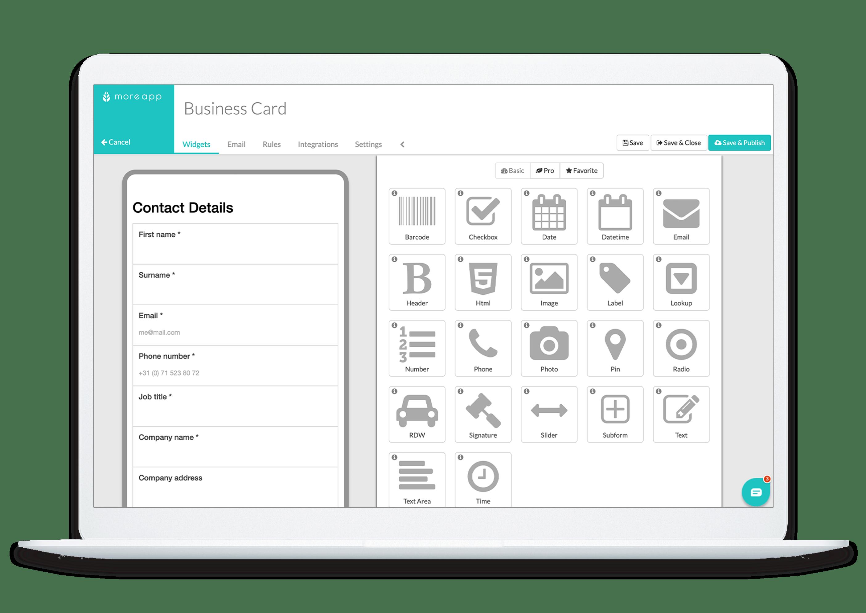 MoreApp Platform Business cardapp