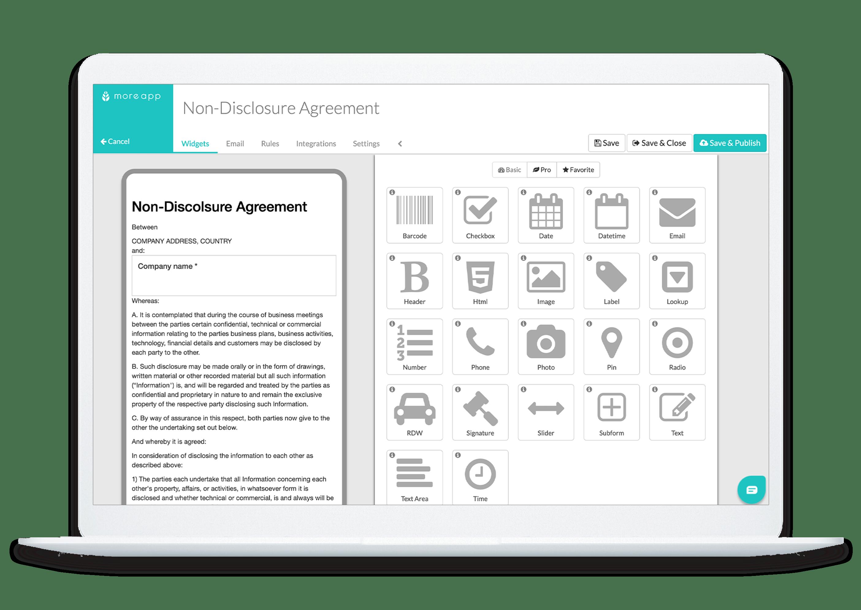 MoreApp Platform Non-Disclosure Agreement App