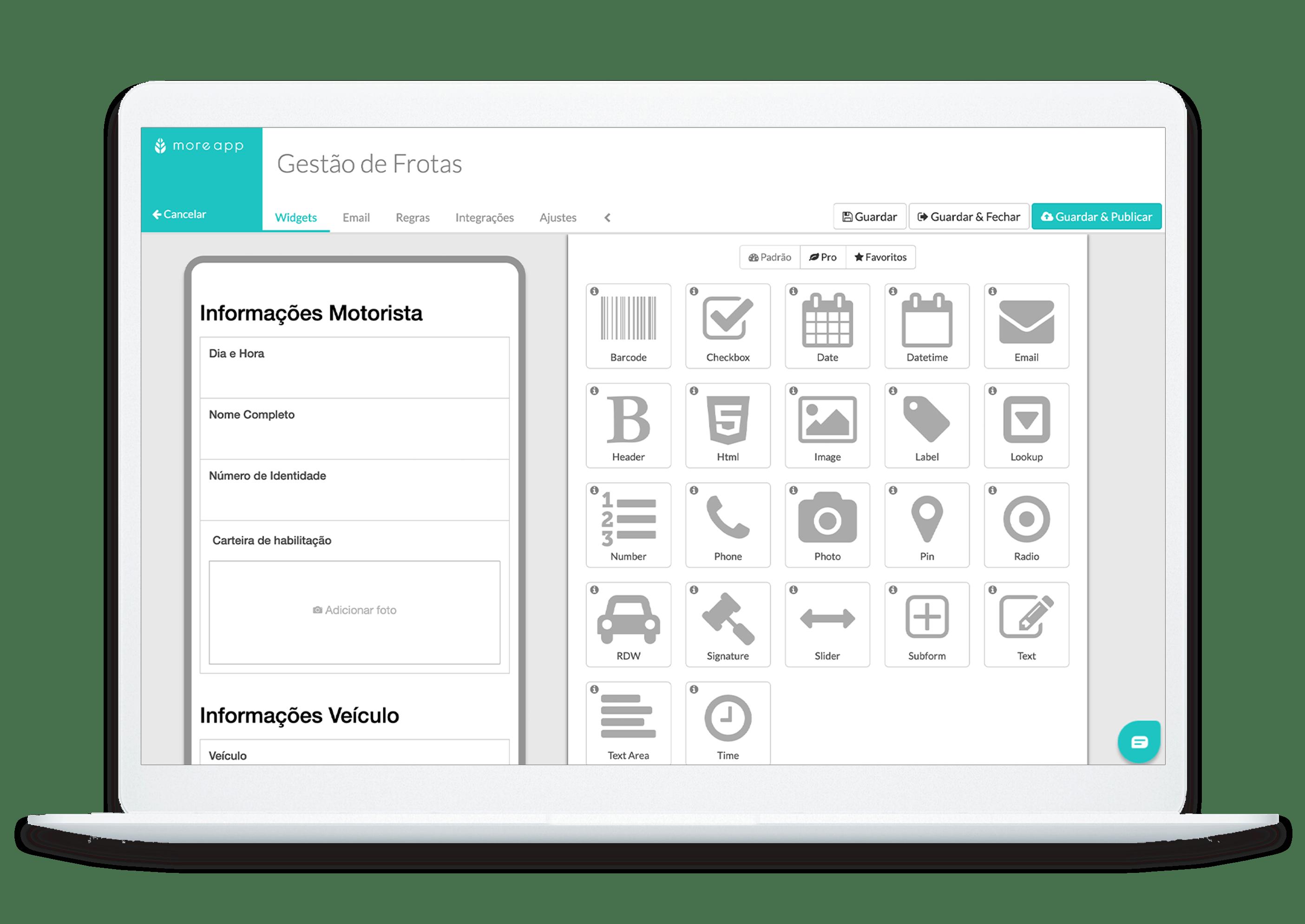MoreApp Construtor de Formulários Gestão de Frotas App