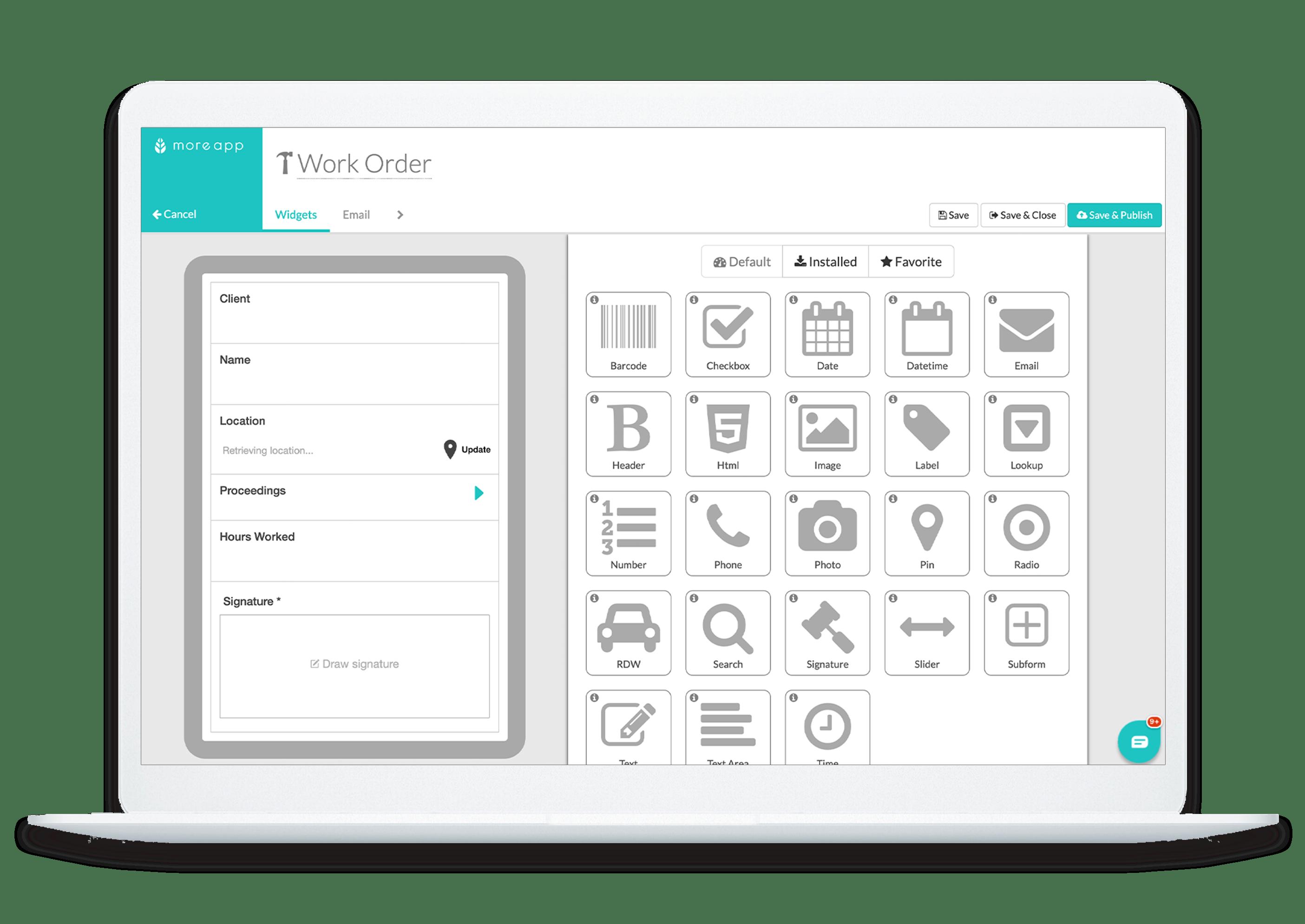 MoreApp Platform Work order app