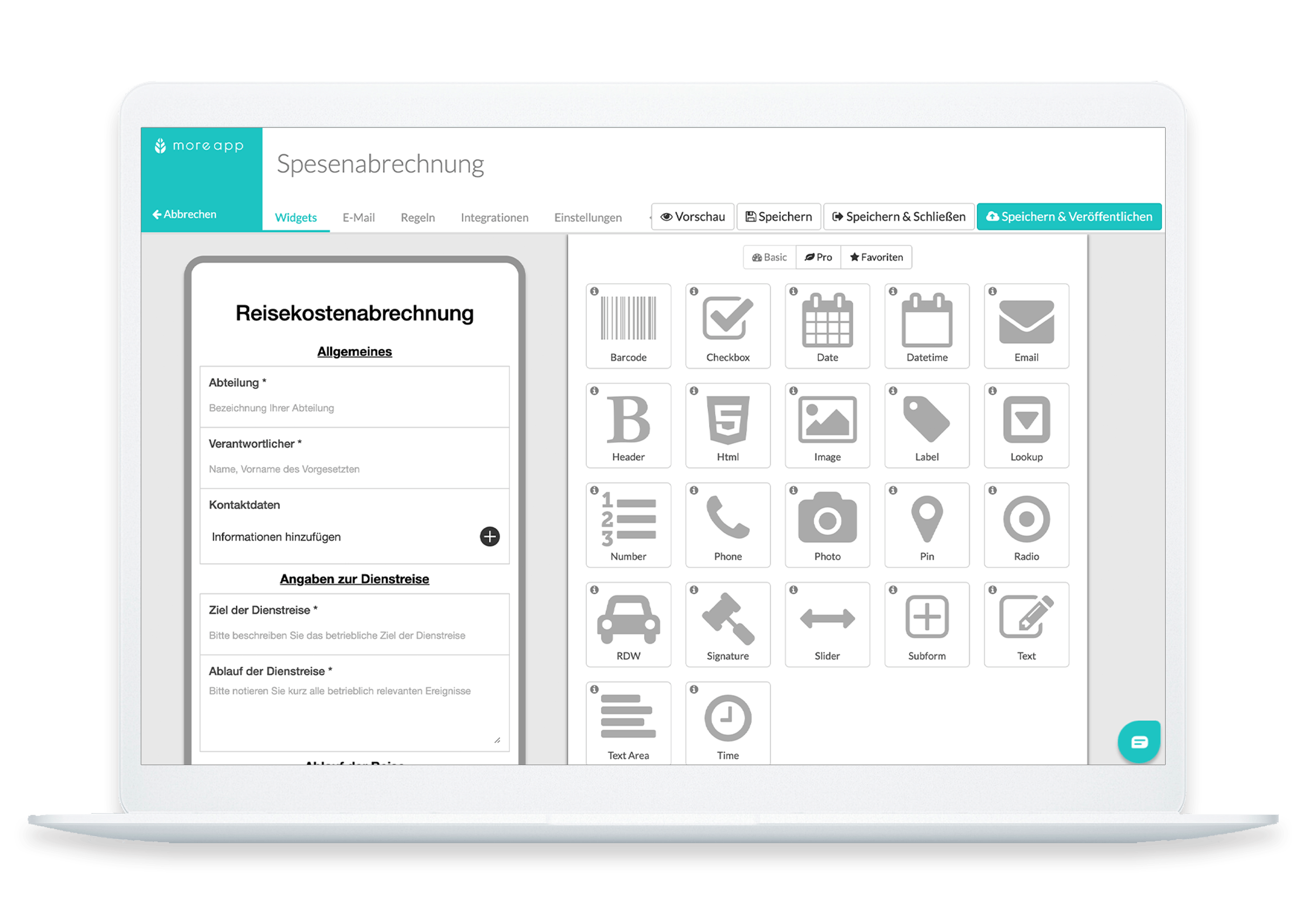 MoreApp Plattform Spesenabrechnung
