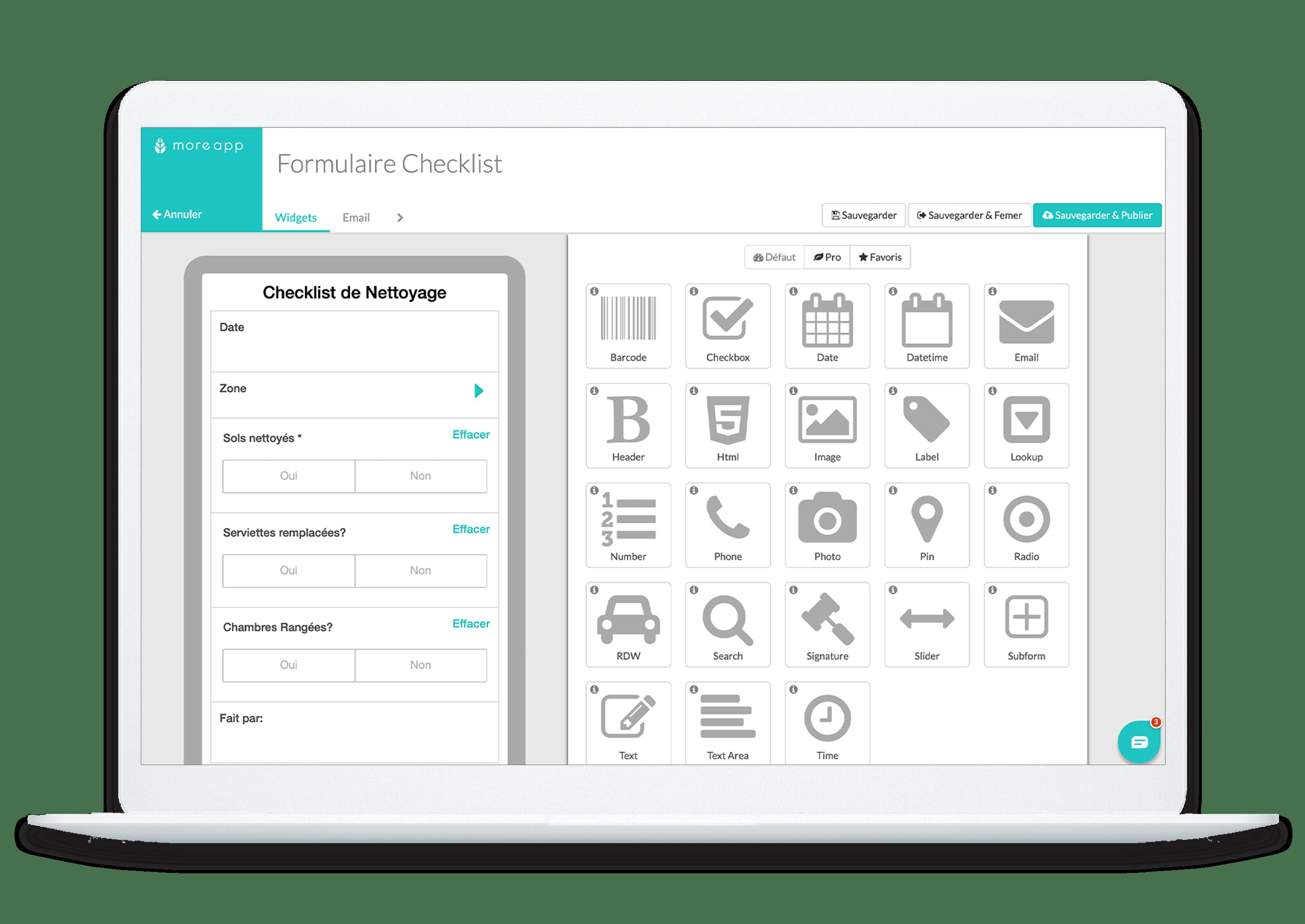 Créateur Formulaires Checklist MoreApp