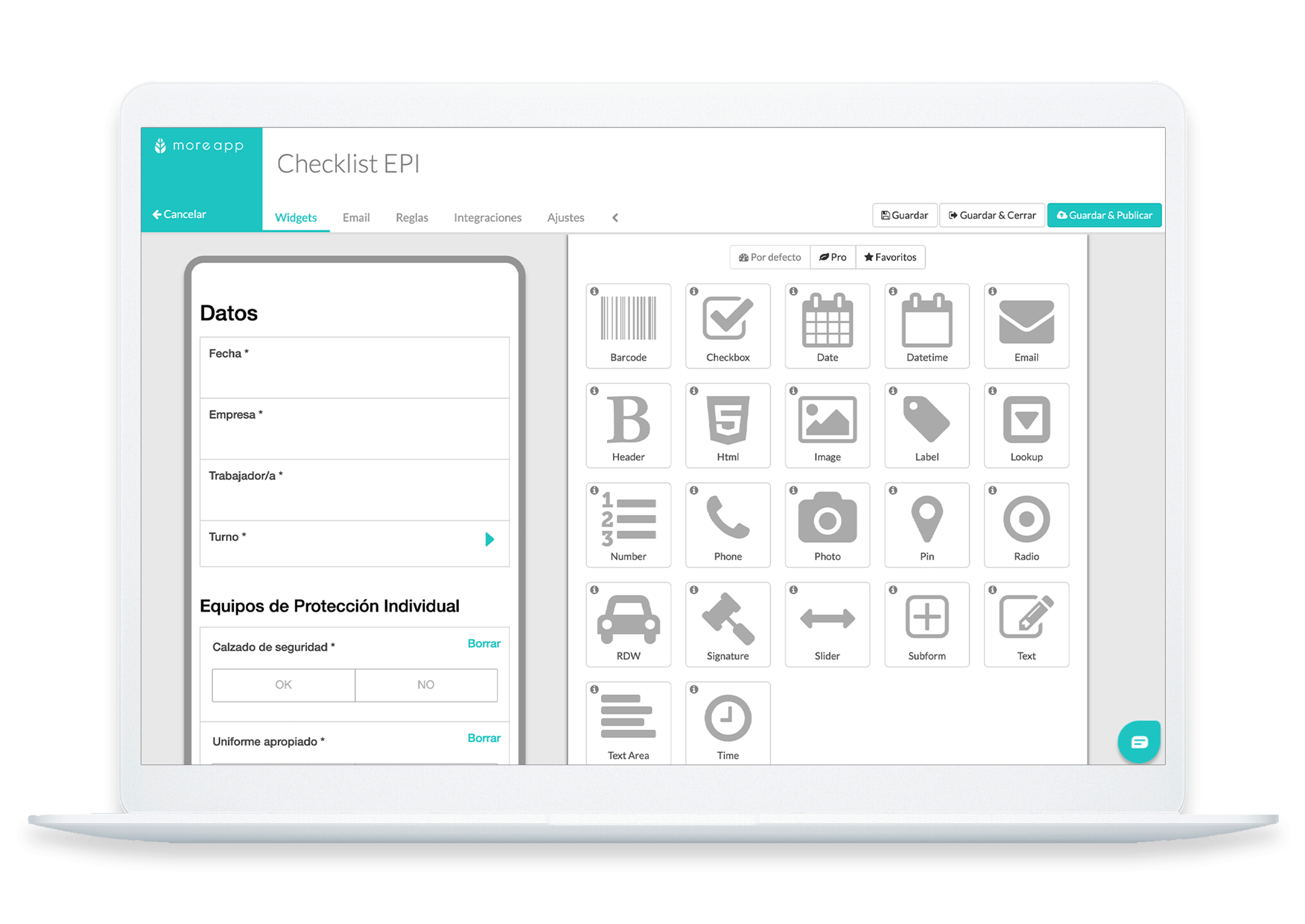 Checklist EPI Plataforma MoreApp