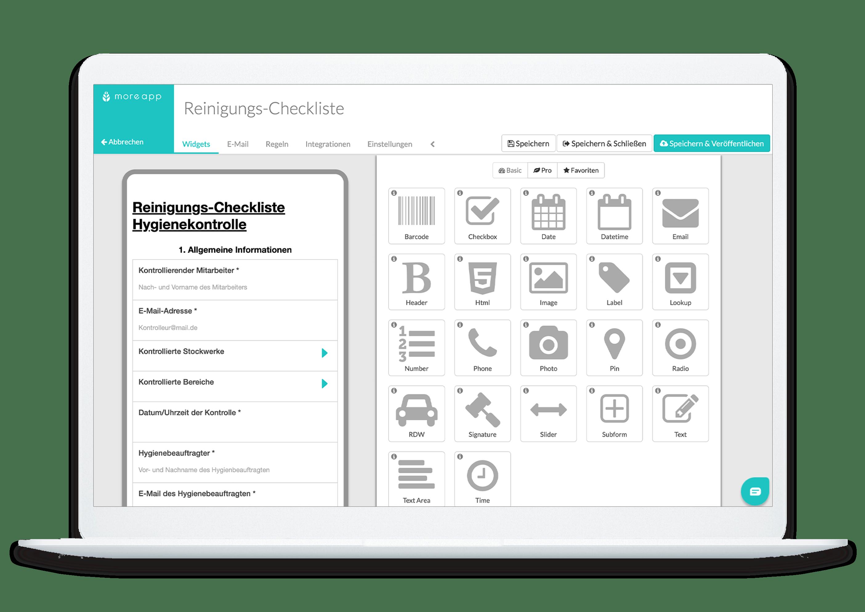 MoreApp Plattform Reinigungs-Checkliste-App