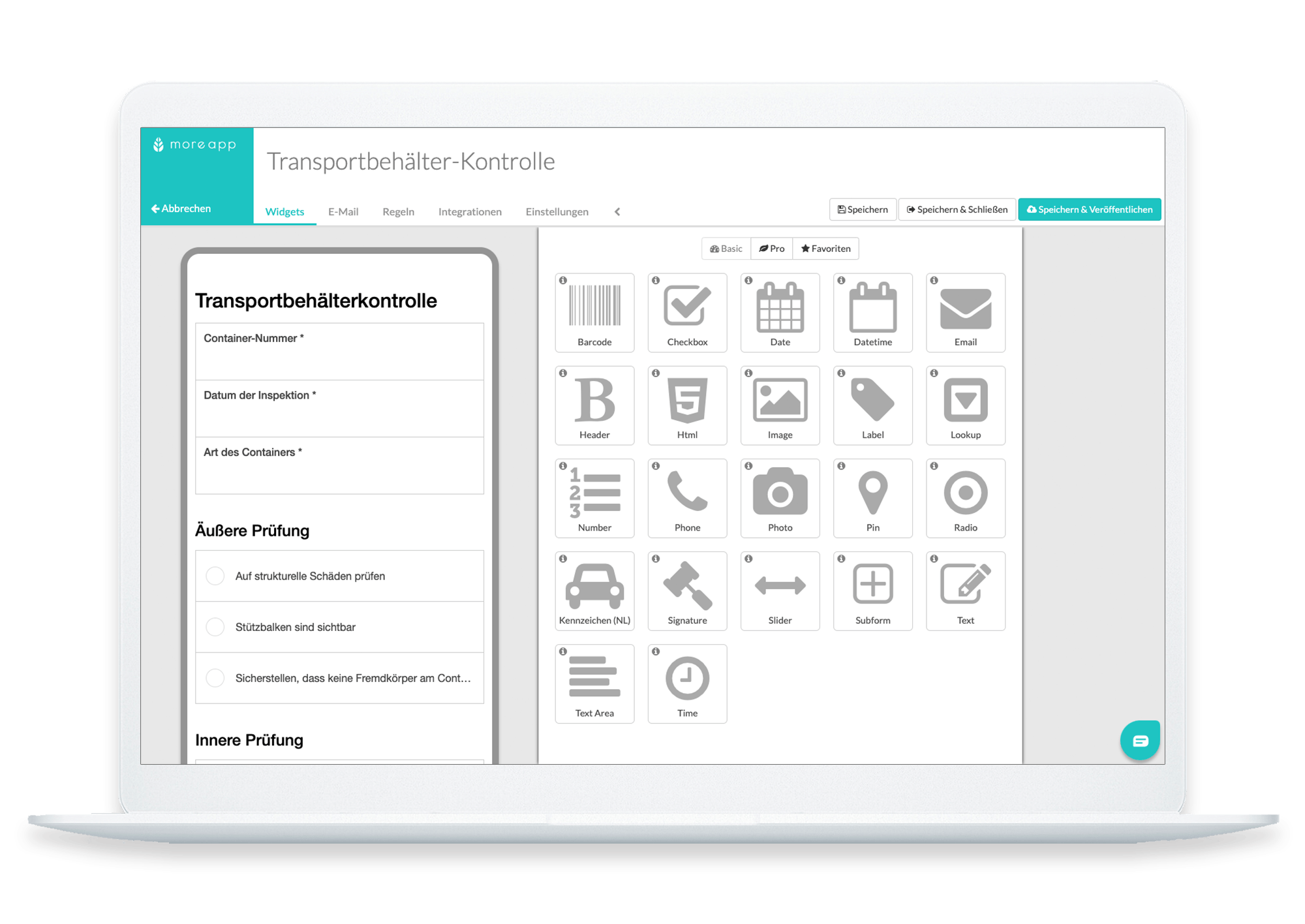 Transport container check in platform