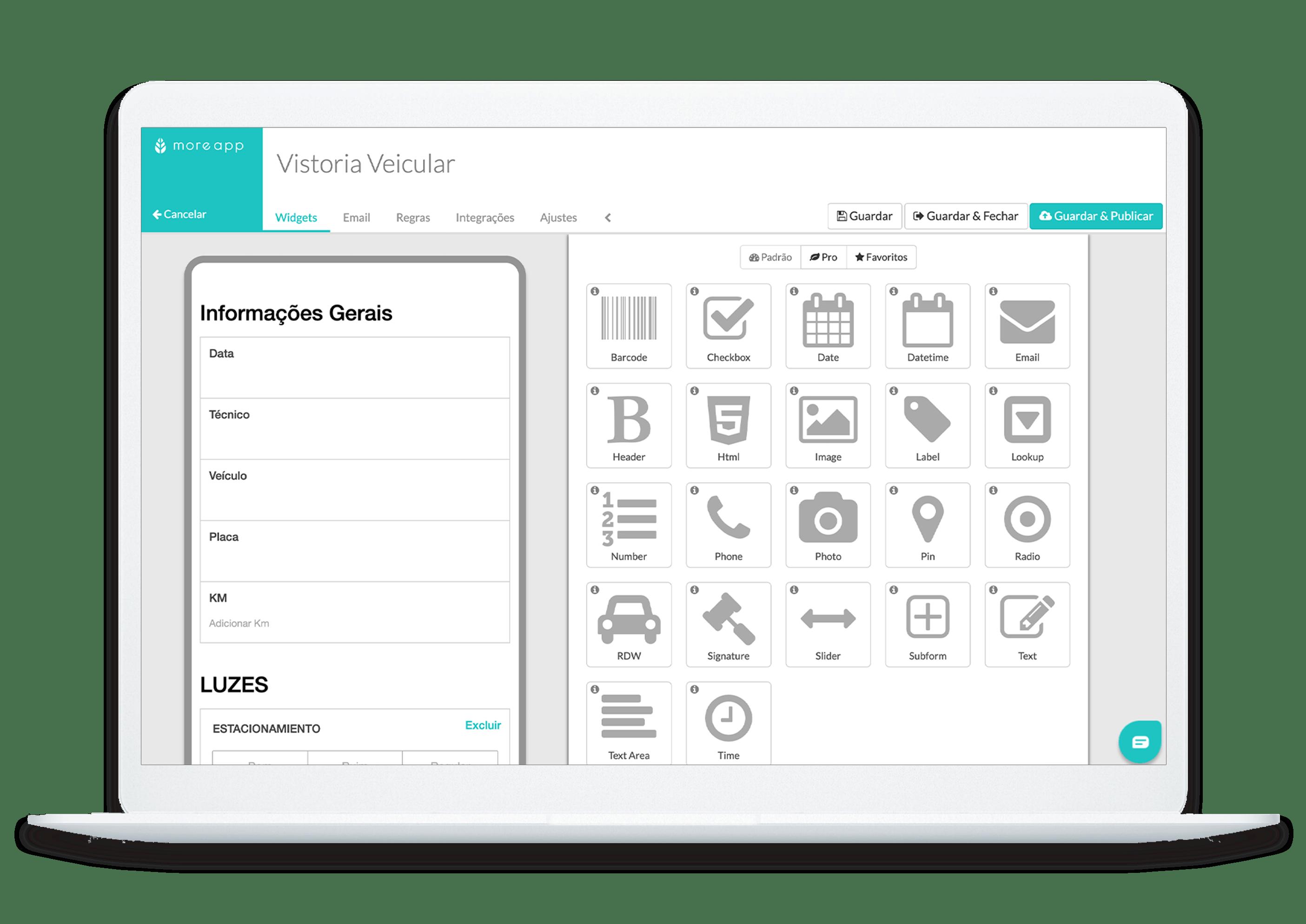MoreApp Construtor de Formulários Vistoria Veicular App