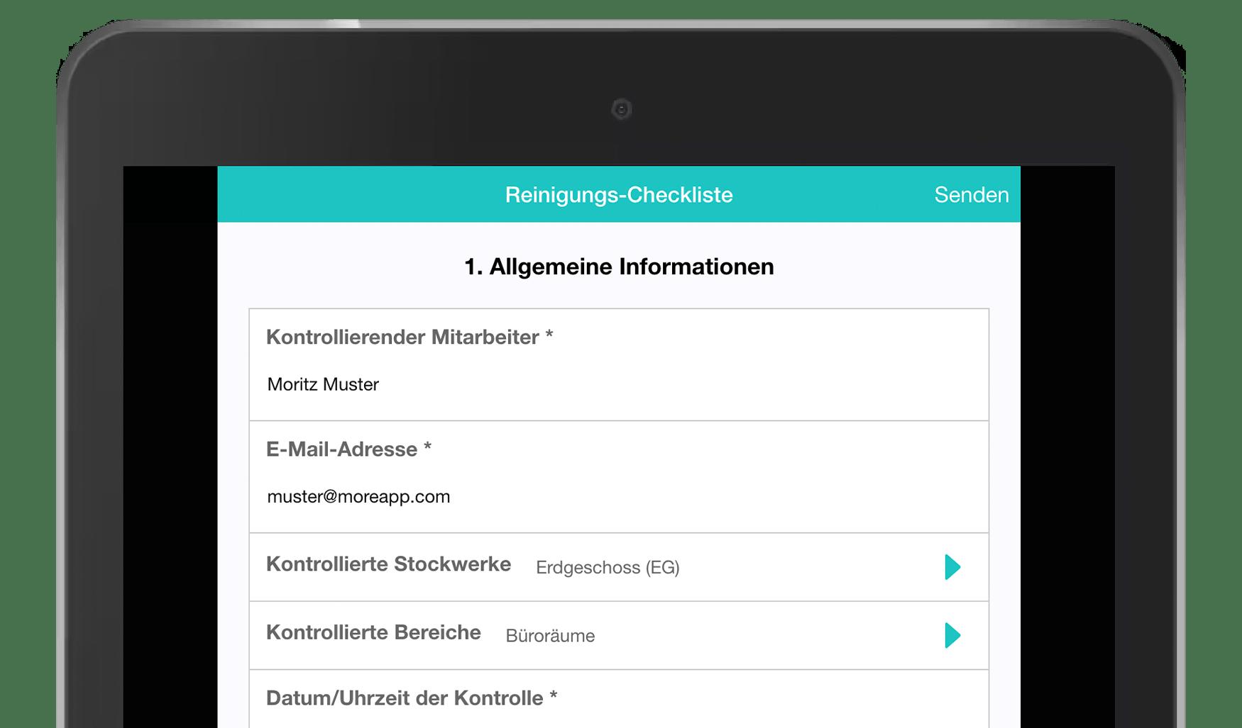 MoreApp Formulareditor Reinigungs-Checkliste