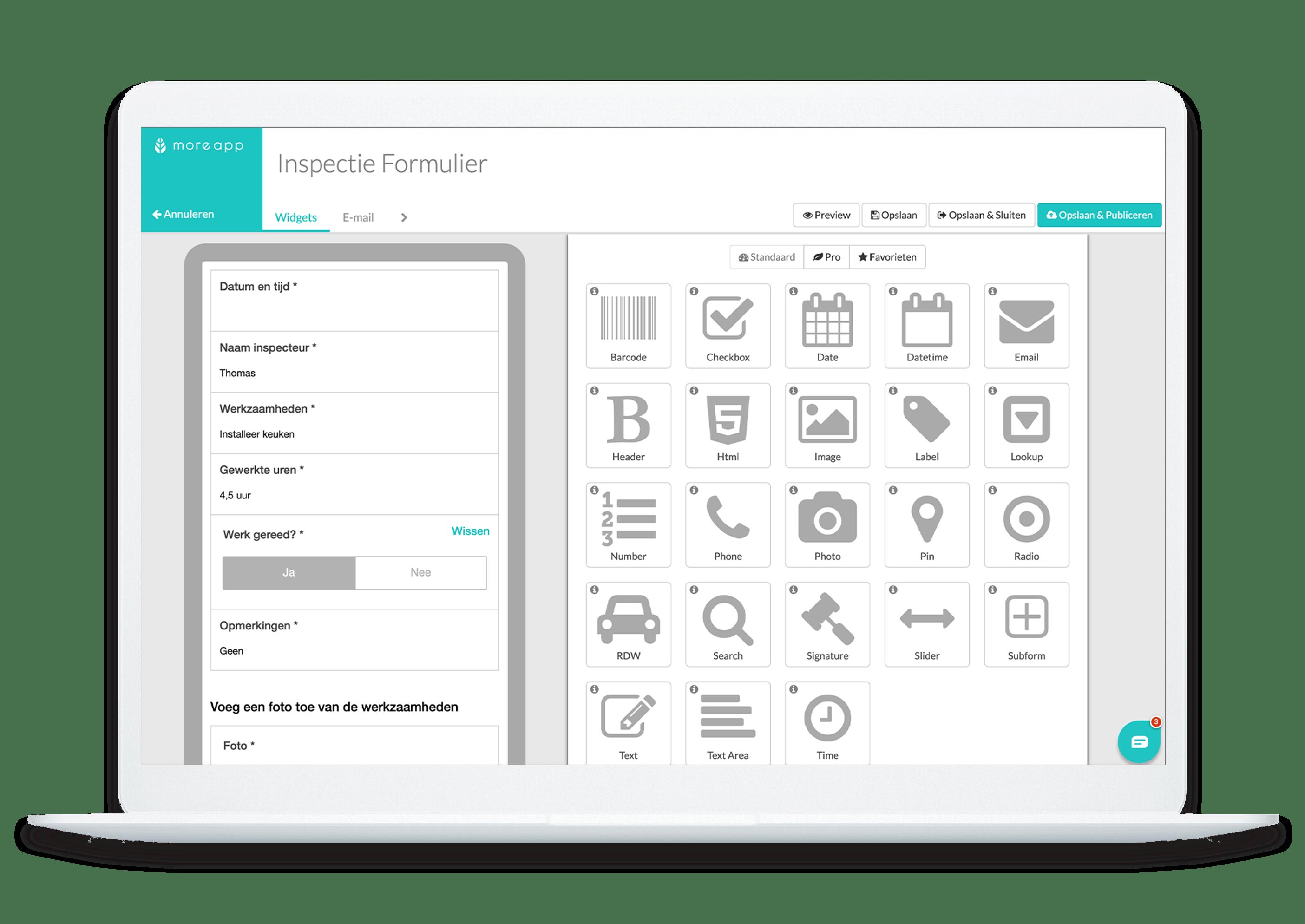 MoreApp Formbuilder Inspectie formulier