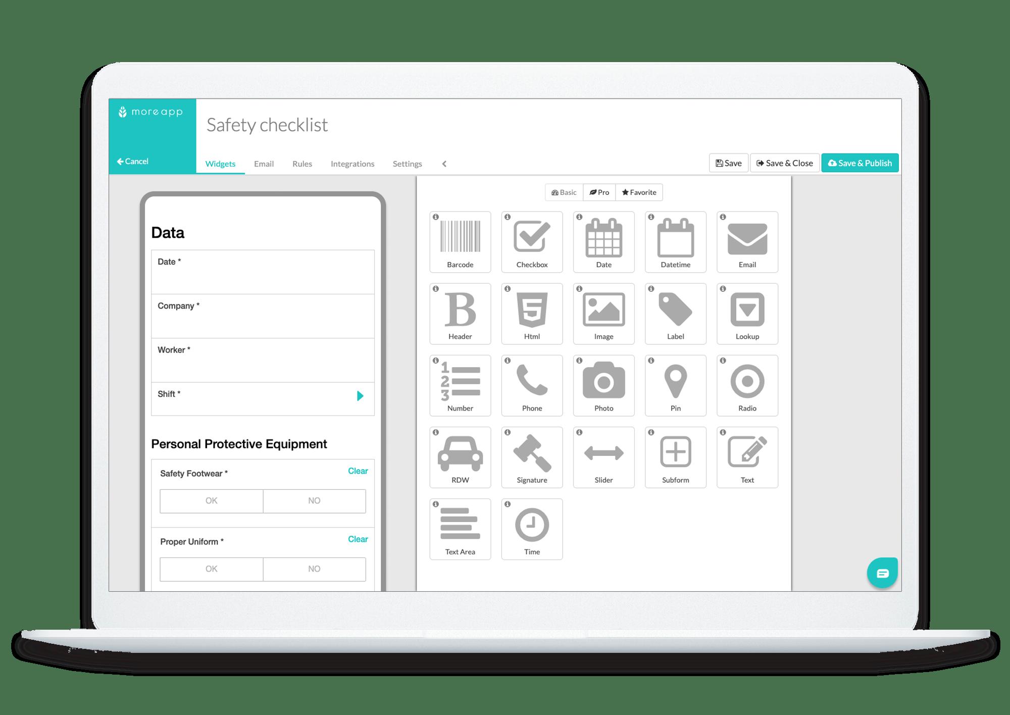 MoreApp Safety Checklist Form