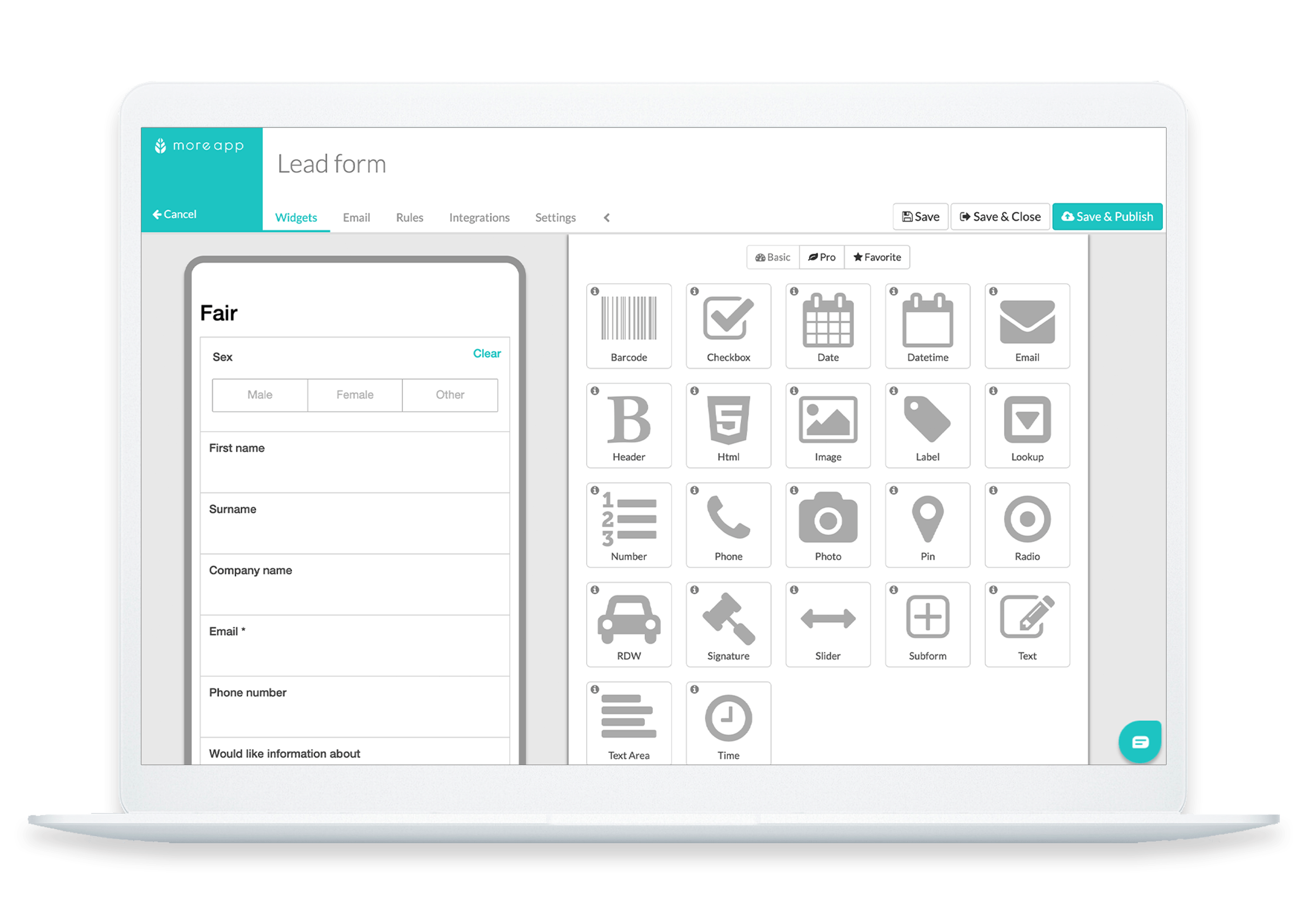 MoreApp Platform Lead Forms App