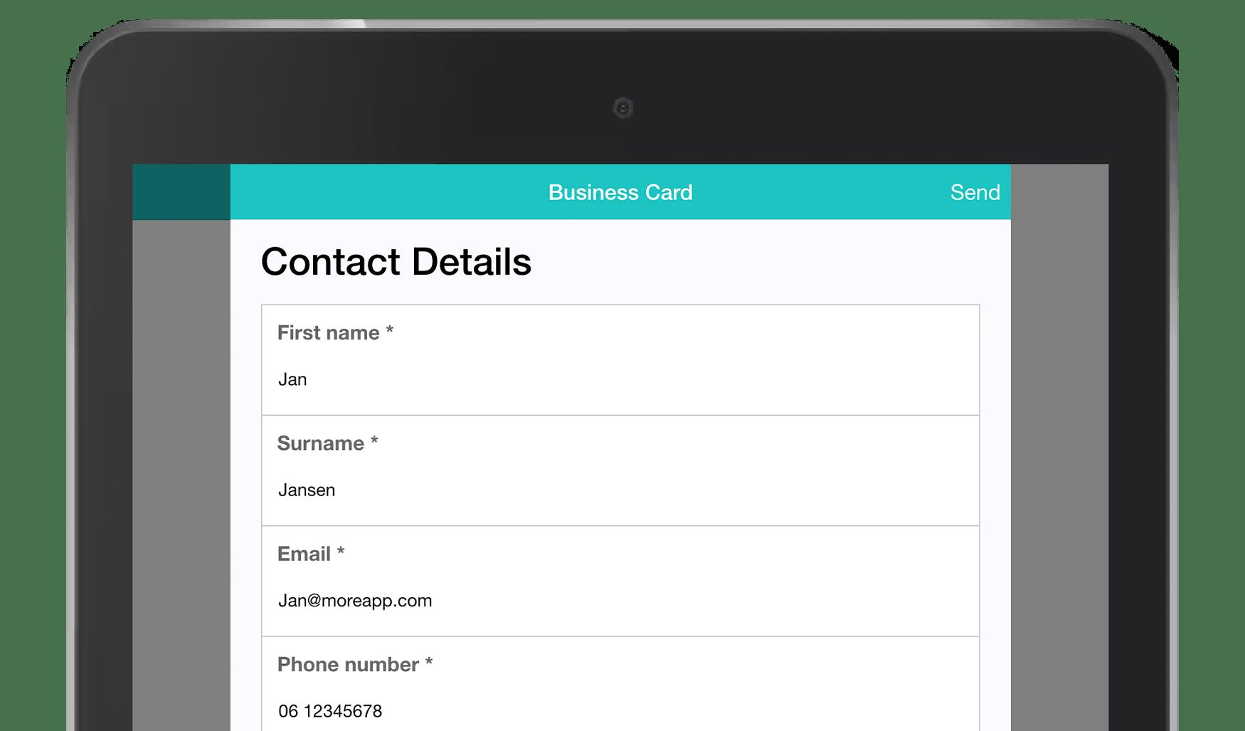 MoreApp Form Business cardapp
