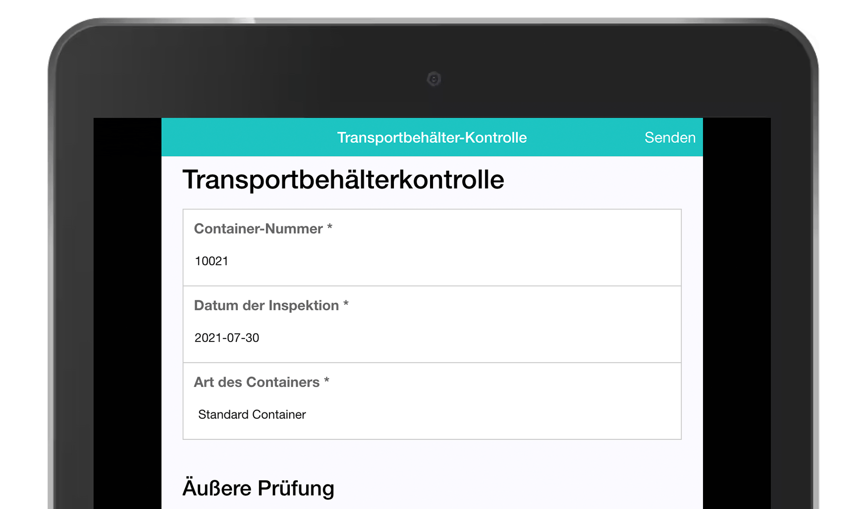 MoreApp Transport container check