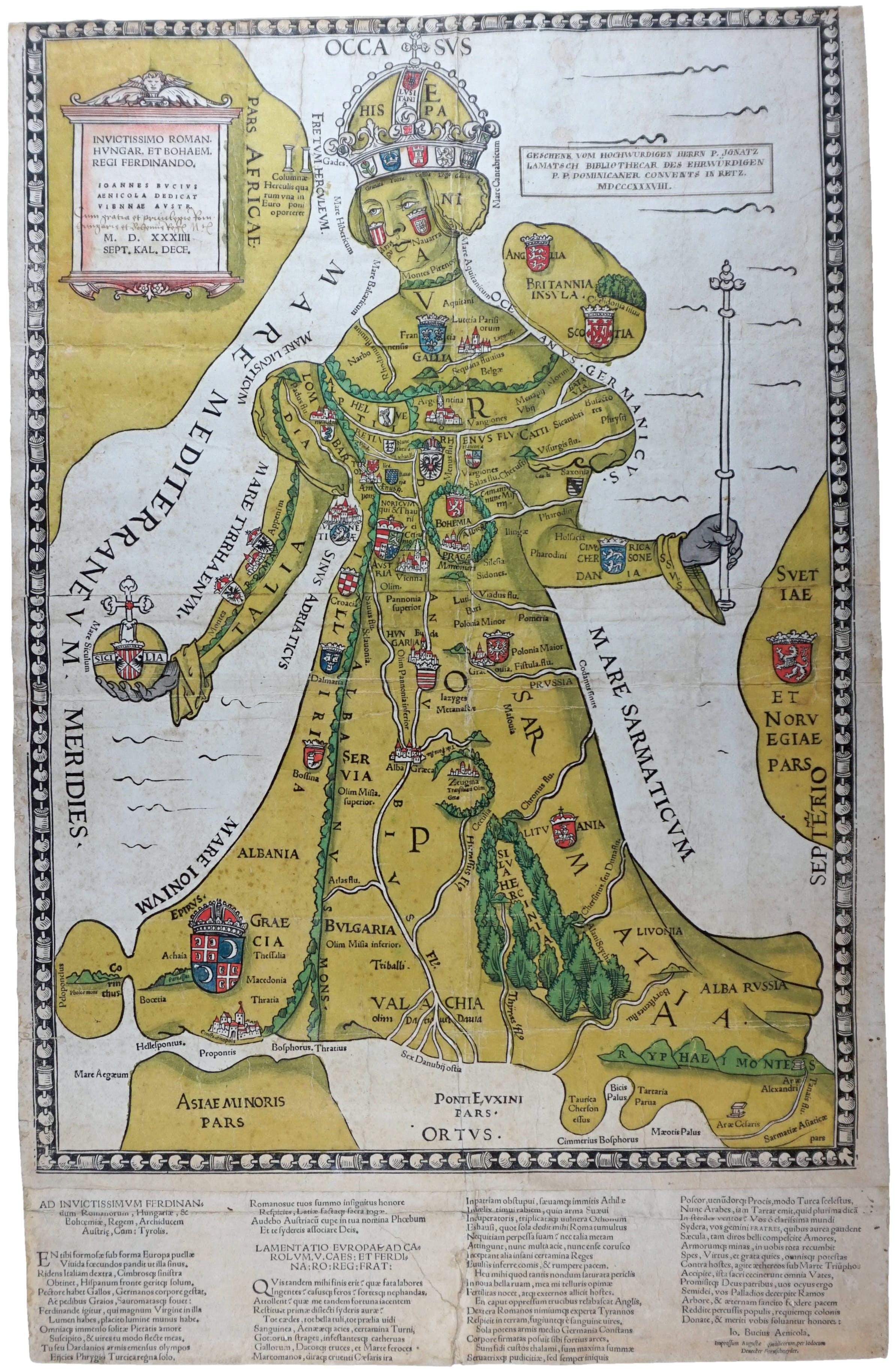 """Älteste Darstellung der """"Königin Europa"""" (Johannes Putsch, 1534)"""