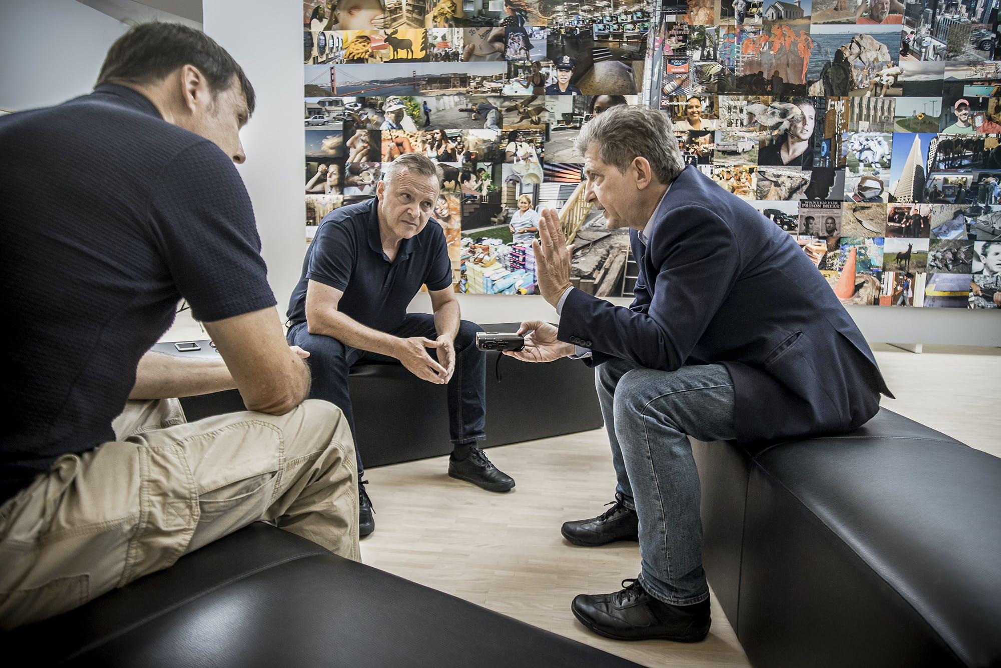 Karikaturist Bruno Haberzettl, Museumsdirektor  Christian Bauer und morgen-Autor Thomas  Trenkler (von links), Landesgalerie Niederösterreich, Krems