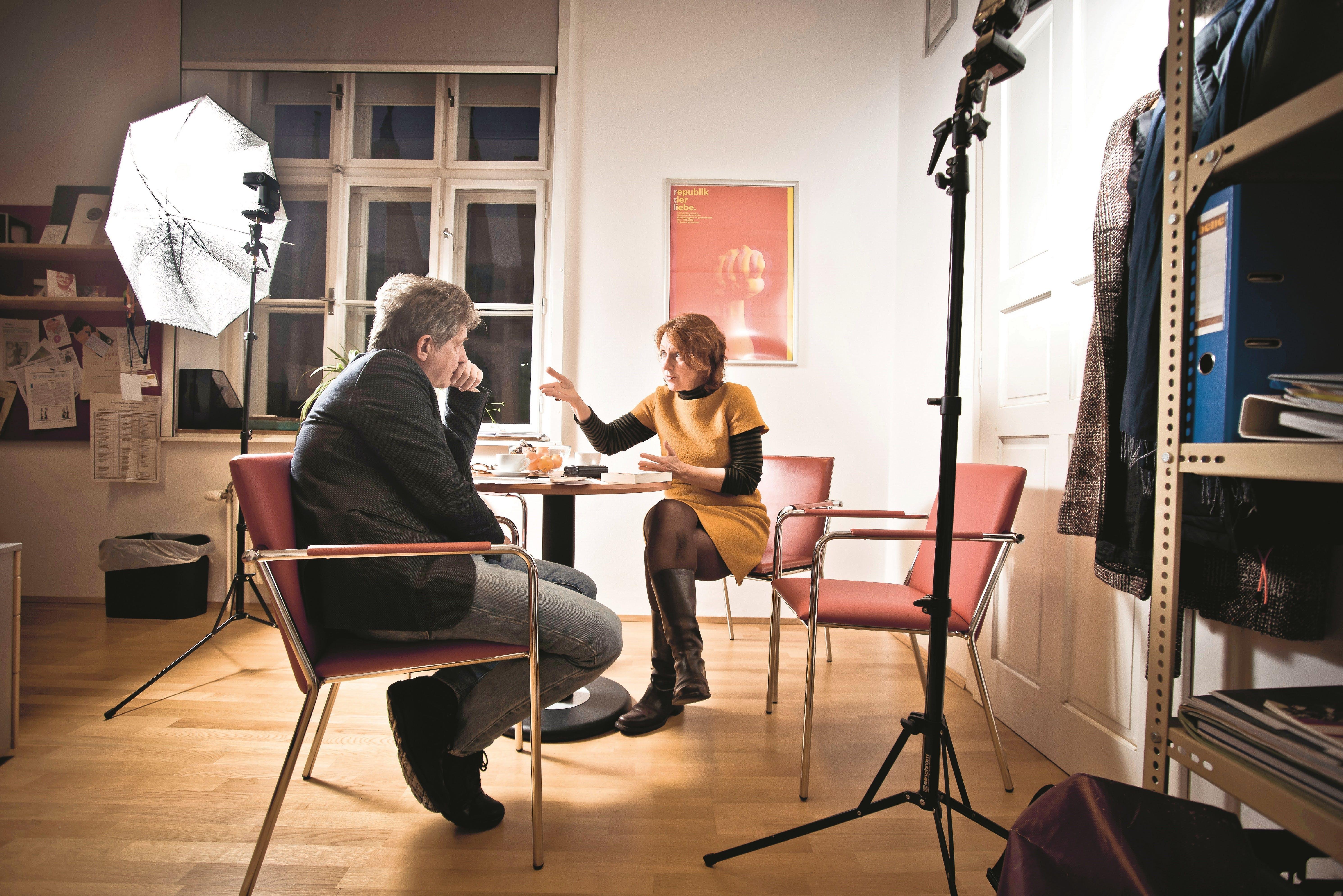 Politikwissenschaftlerin Guérot mit morgen-Autor Thomas Trenkler